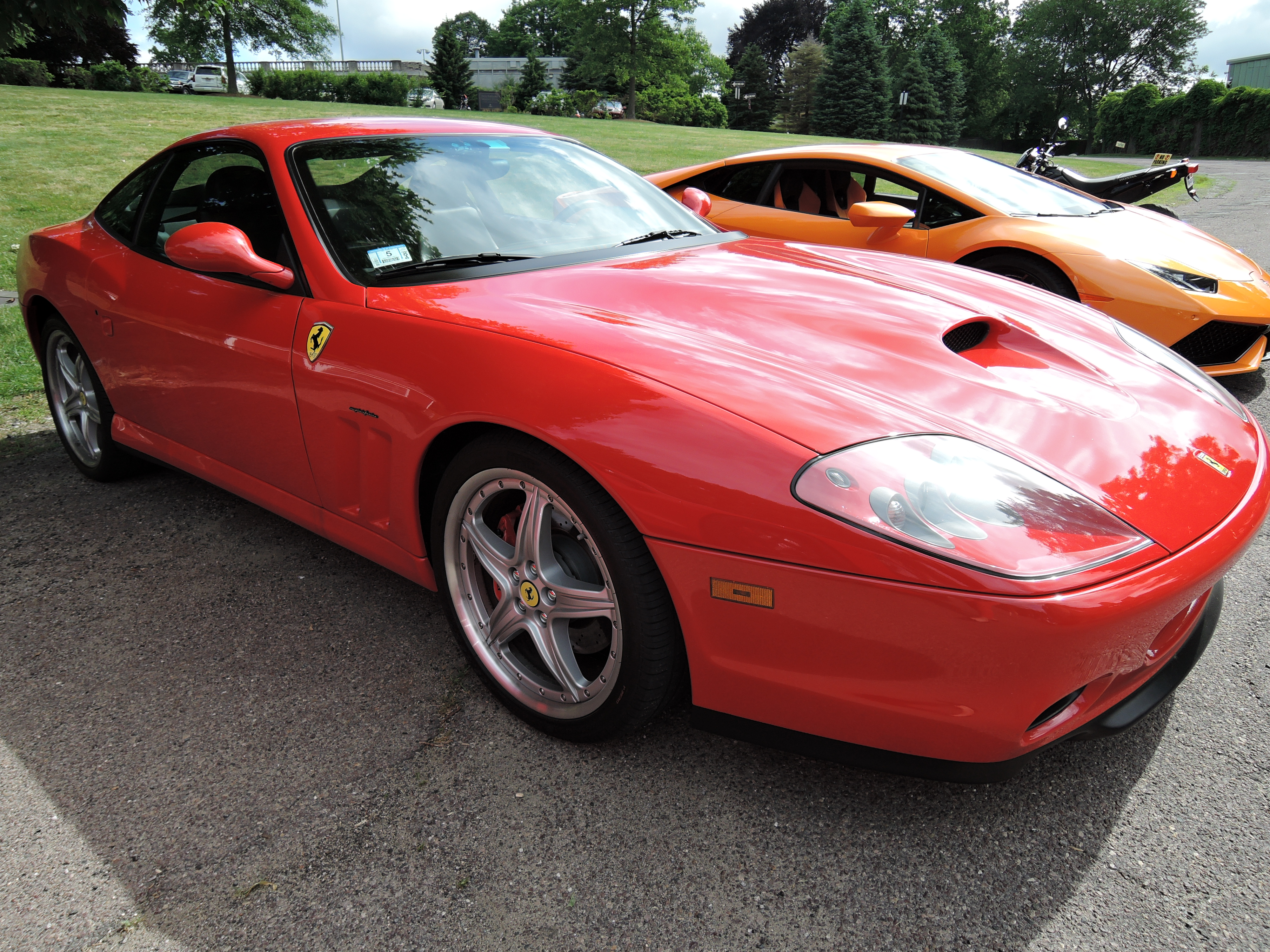 red 2004 Ferrari 575M - cars and coffee car show at larz Anderson museum of transportation