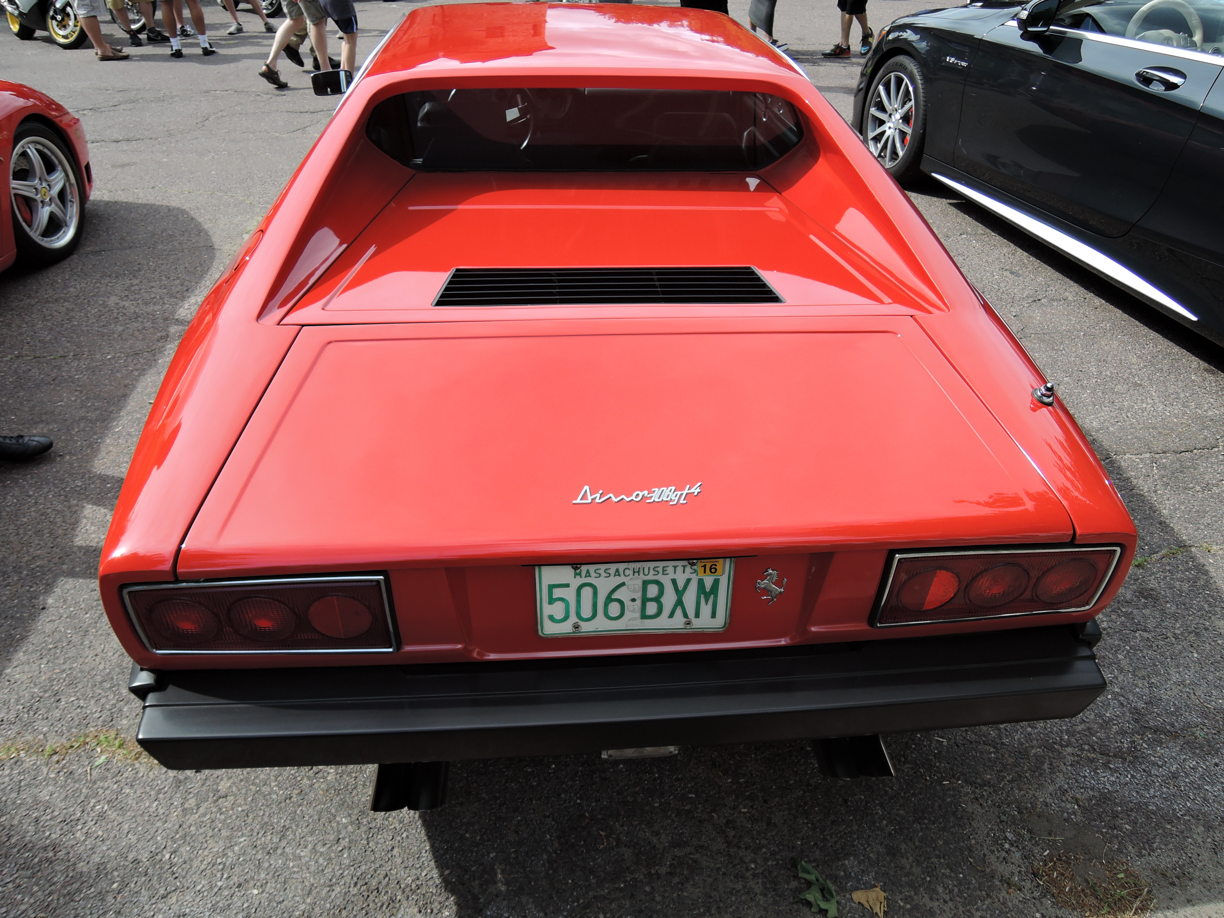 cars and coffee car show at larz anderson - red Ferrari Dino 308gt4
