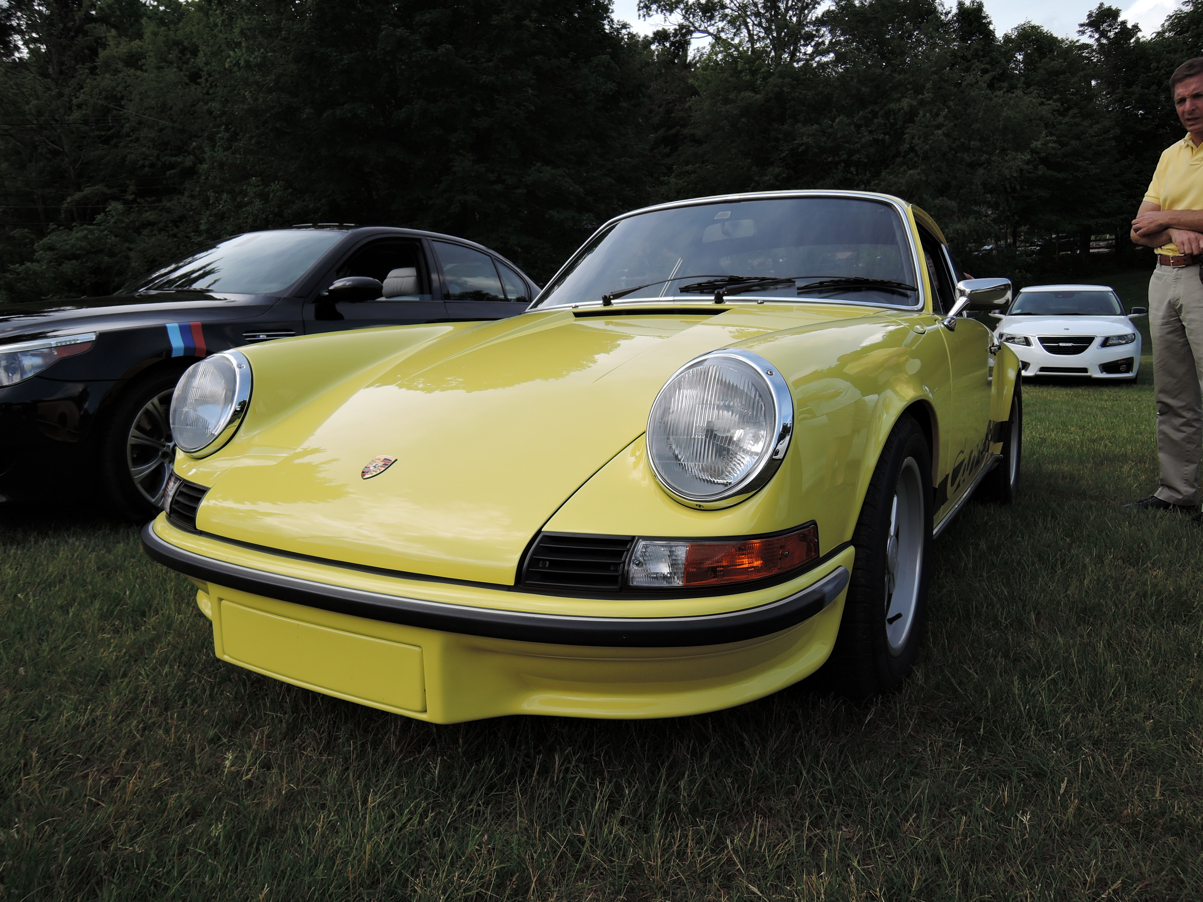 yellow porsche - cars and coffee car show at larz Anderson museum of transportation