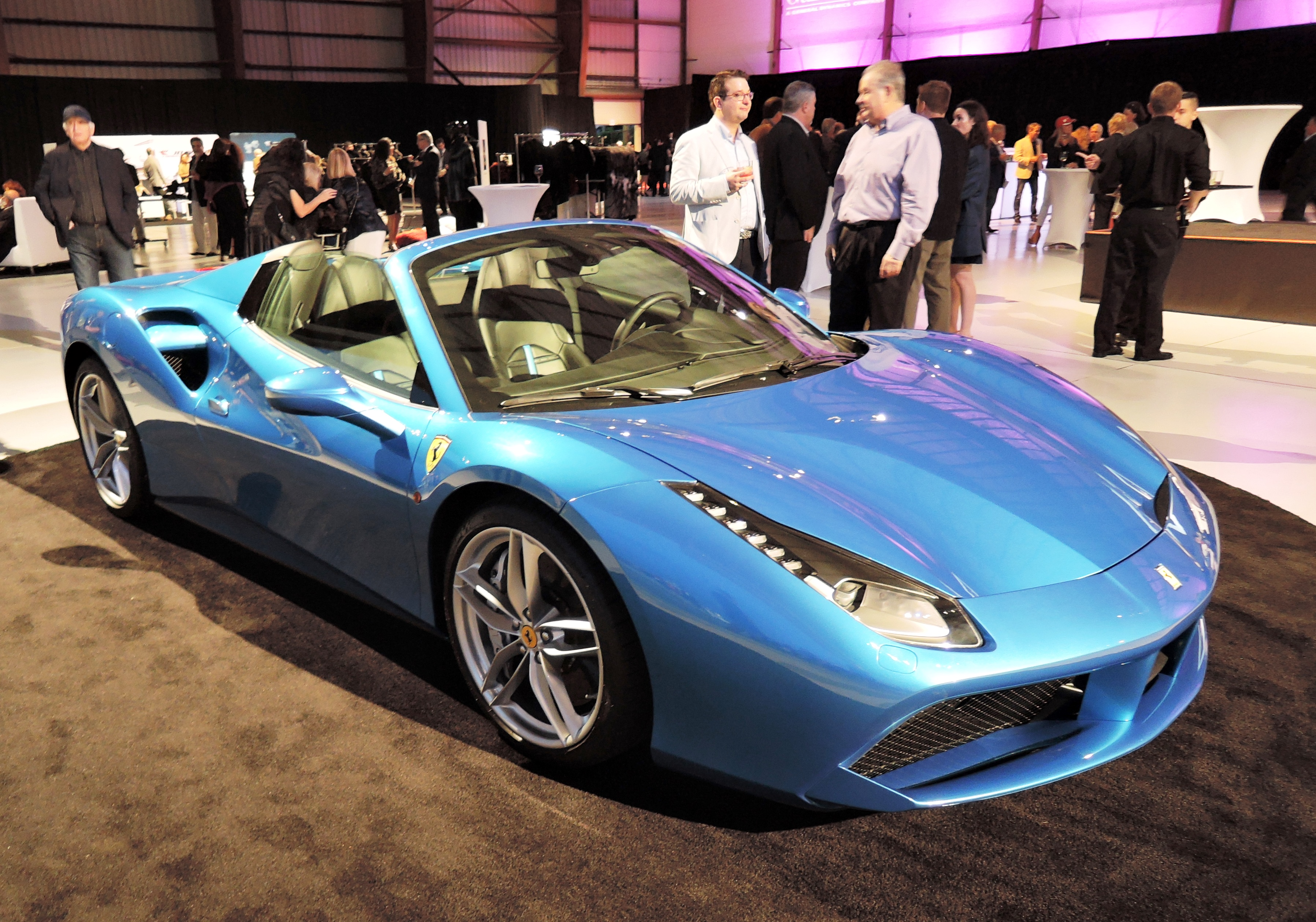 blu corsa ferrari 488 spider - jet center reception
