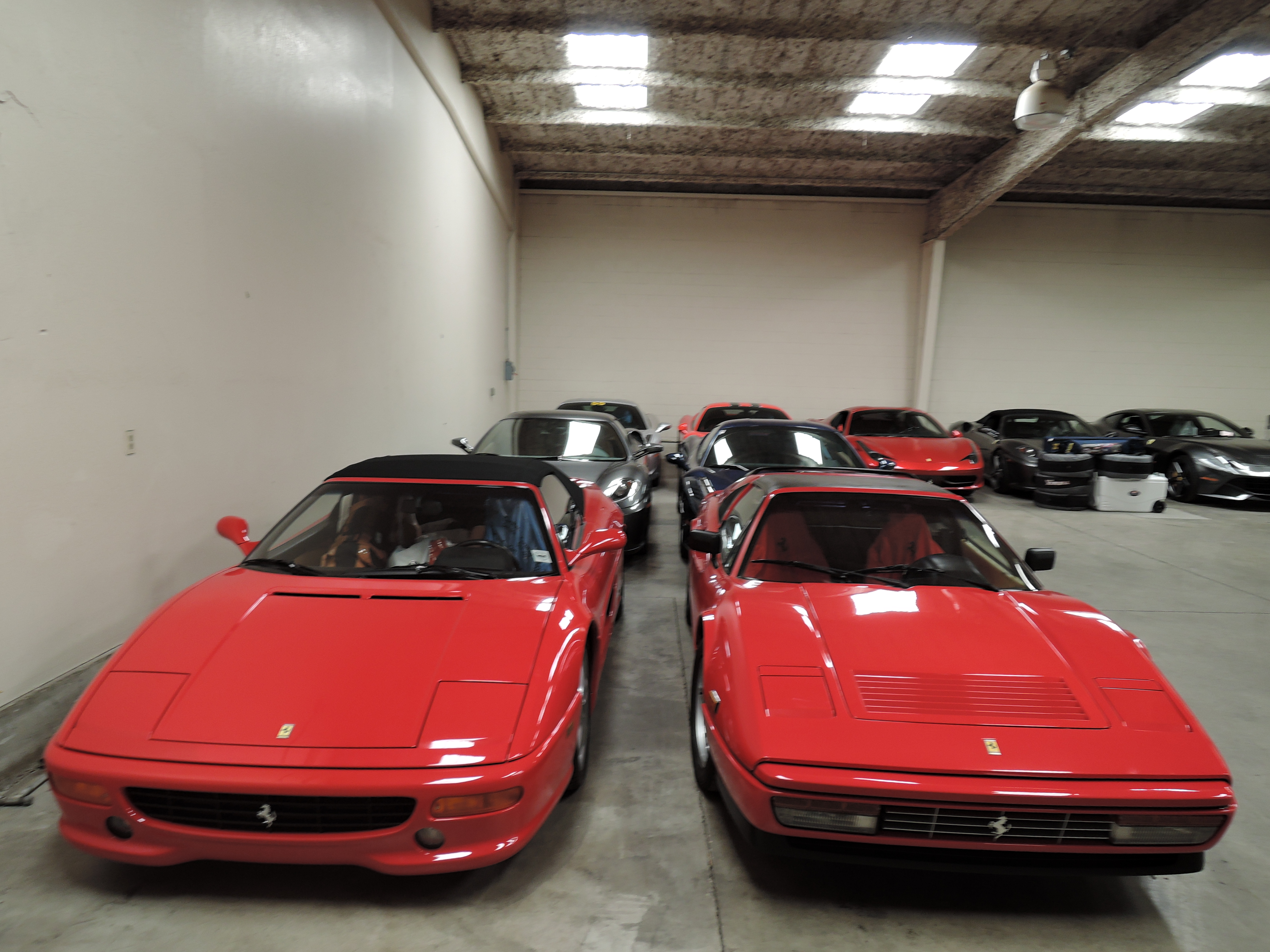 red Ferrari 355 and Ferrari 328 - monterey car week 2015