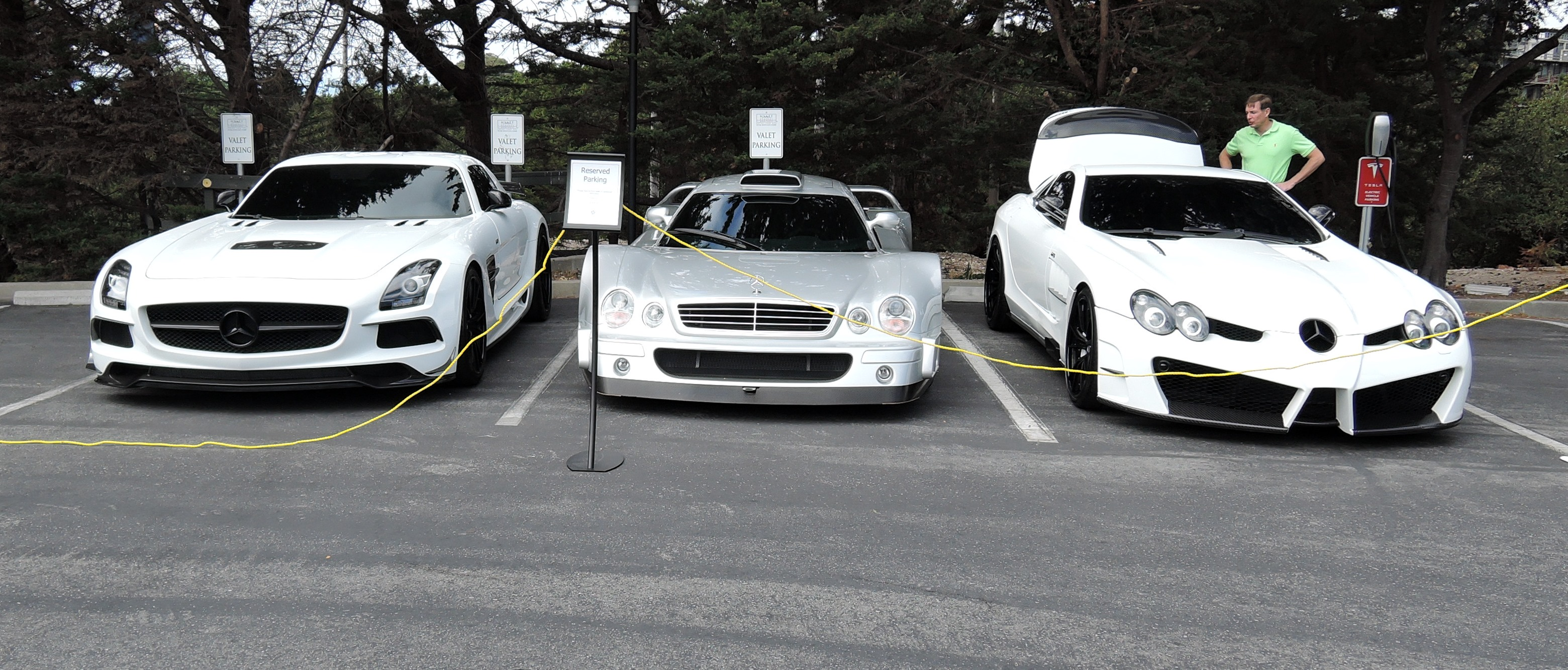 white MB SLS MB CLK GTR MB SLR - monterey car week