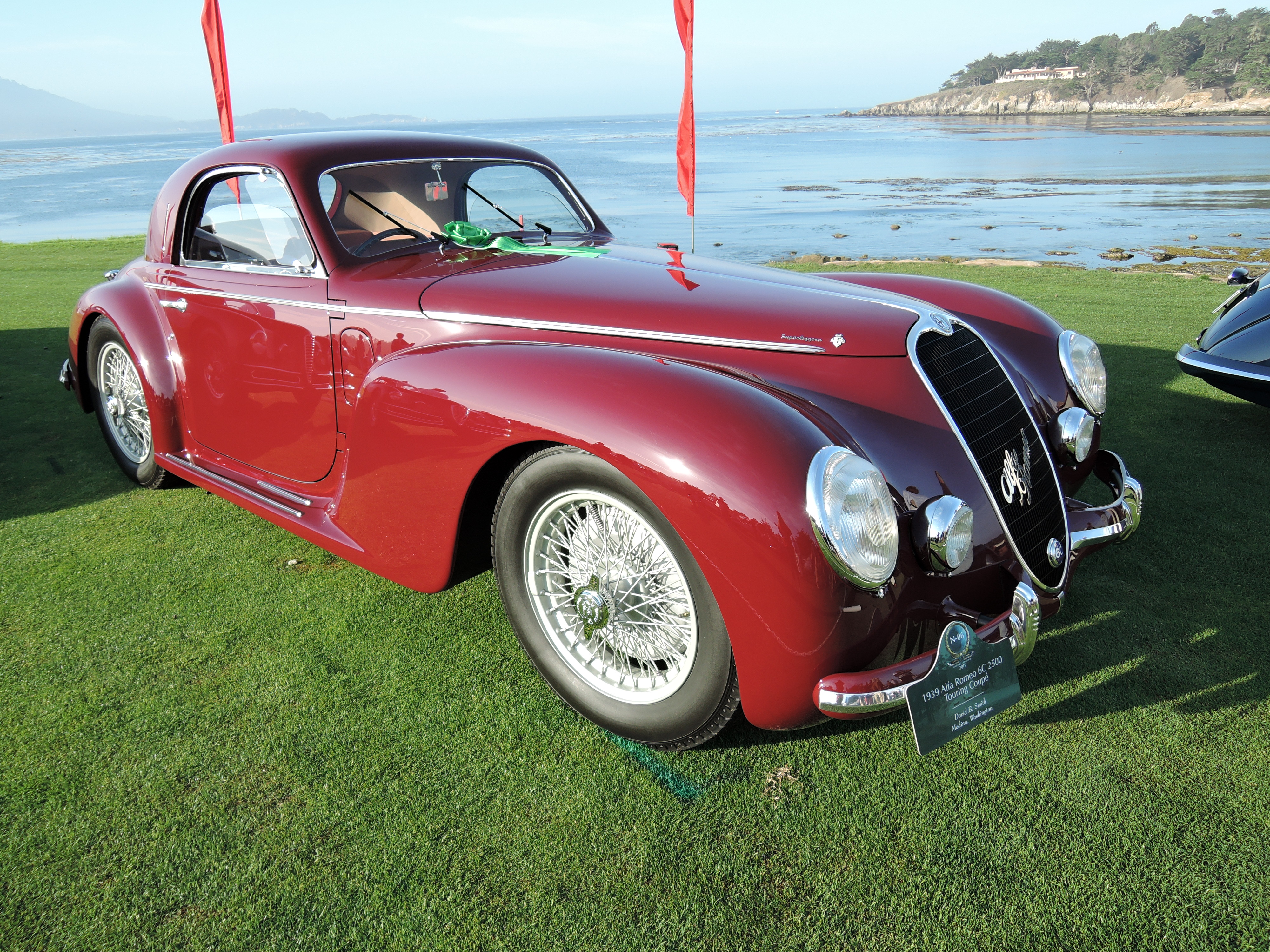maroon 1939 Alfa Romeo 6C 2500 Touring Coupe - concours d'elegance