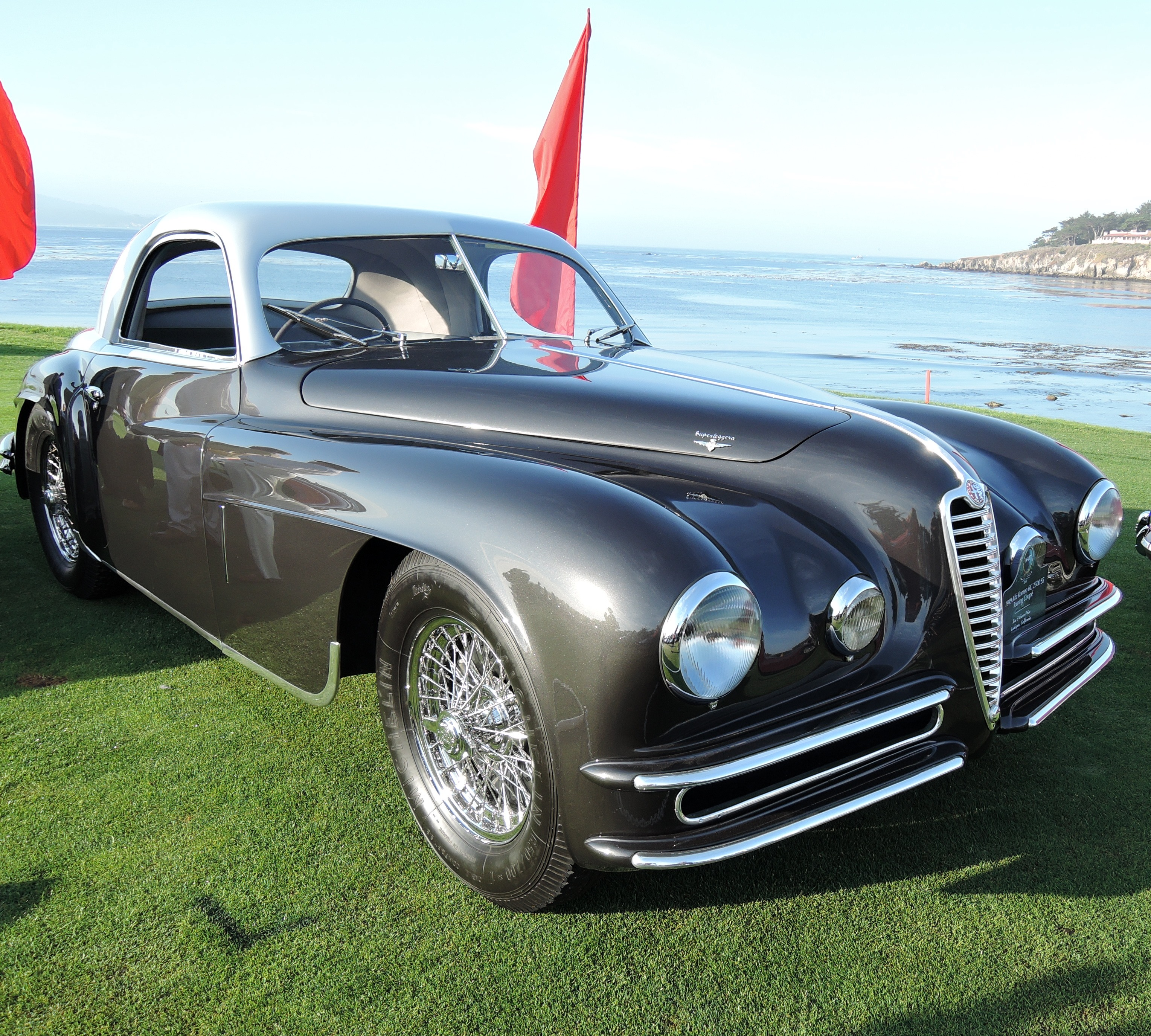 grey 1949 Alfa Romeo 6C 2500 SS Touring Coupe - concours d'elegance