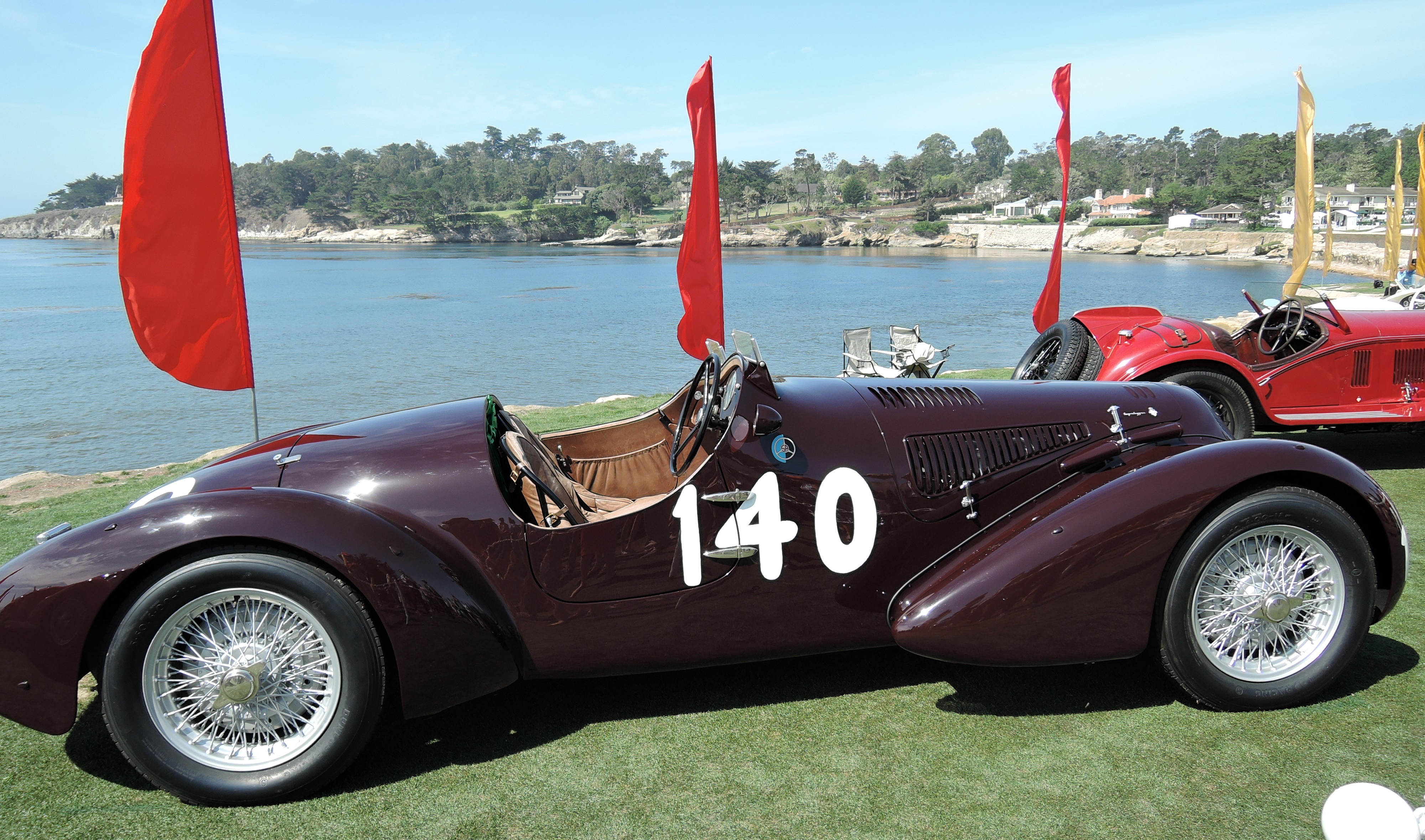 maroon 1938 Alfa Romeo 6C 2300B MM Touring-style Spider Corsa - concours d'elegance