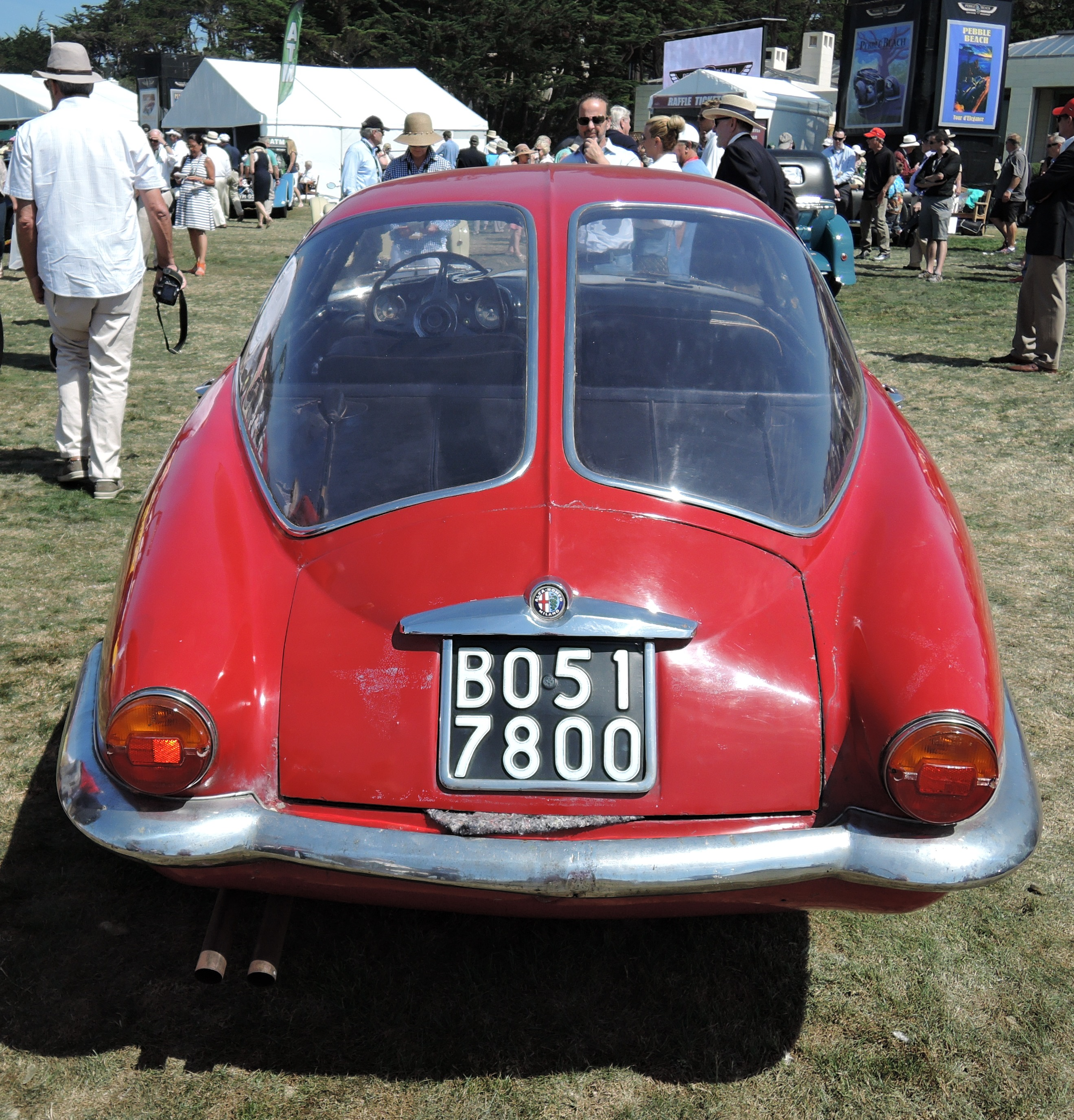two-piece rear glass red 1955 Alfa Romeo 1900 CSS Boano Coupe - concours d'elegance