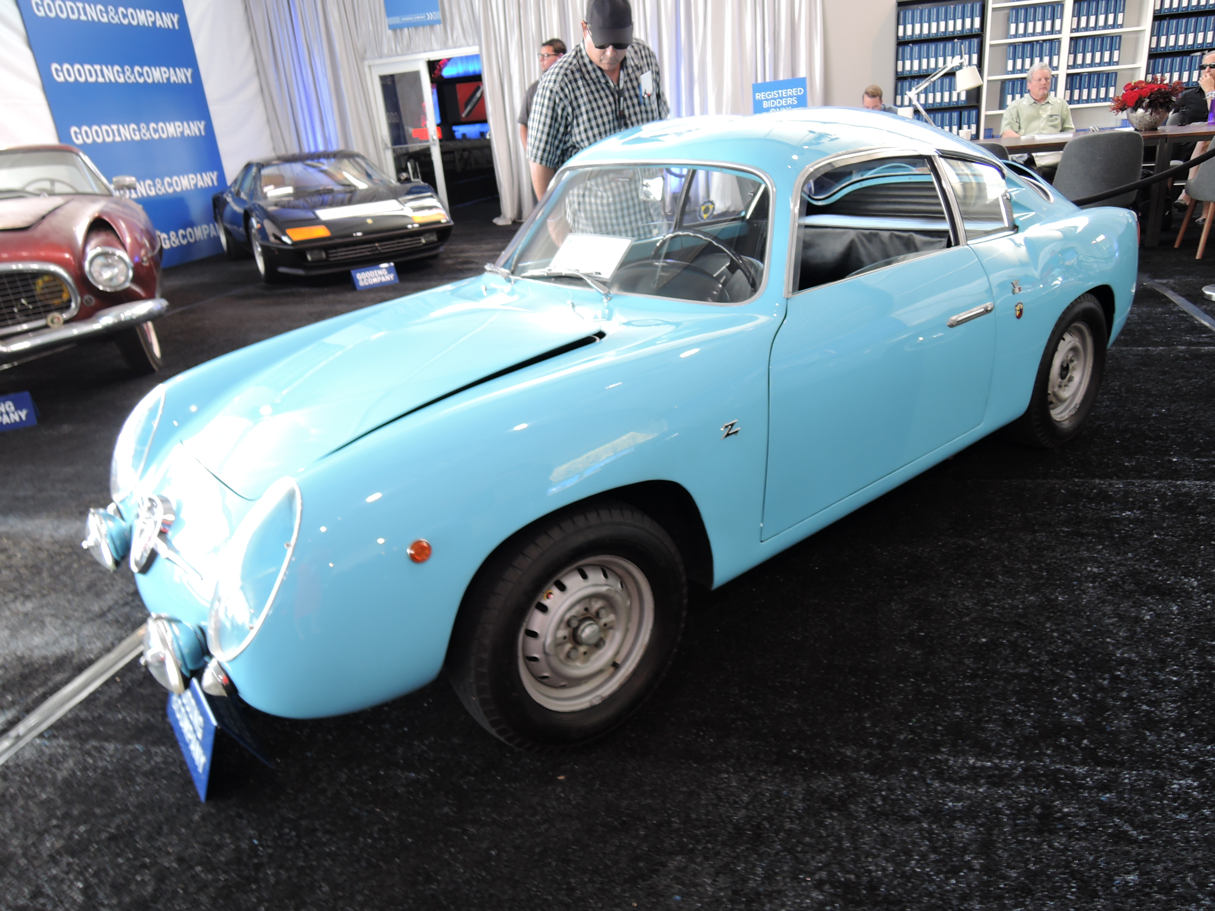 blue 1959 Zagato-bodied Fiat Abarth 750 GT at Gooding and Co. with the distinctive Zagato - classic car auctions
