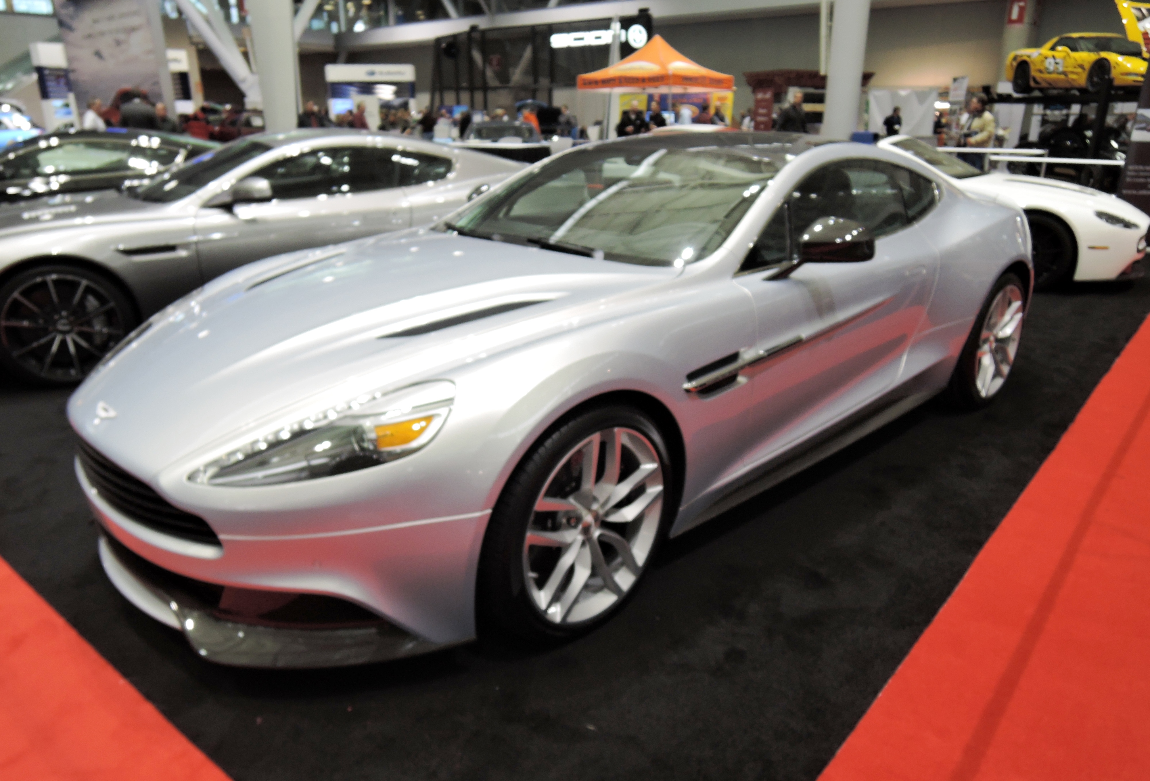 Aston Martin Vanquish Coupe in Lightning Silver - new england auto show