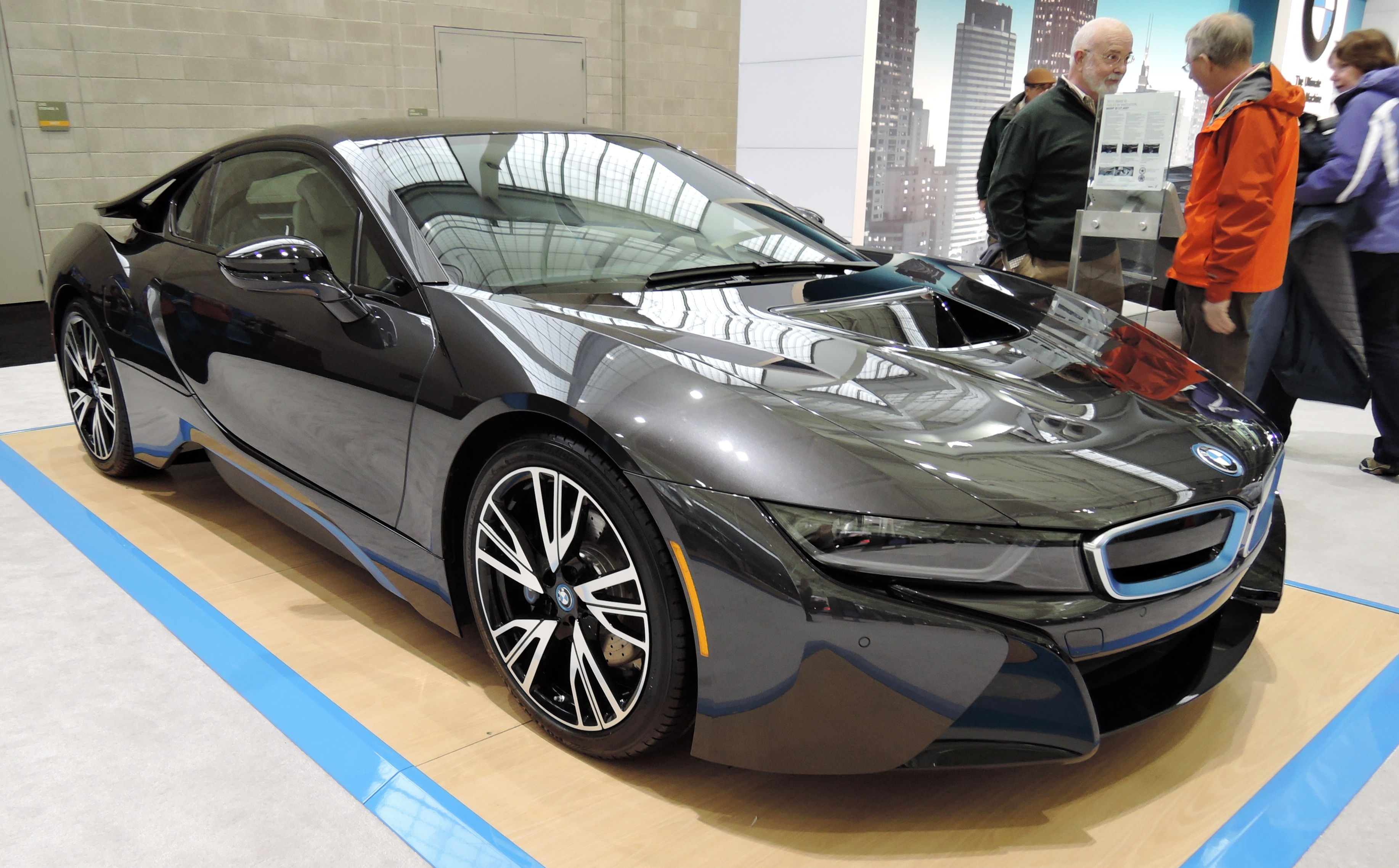 black 2015 BMW I8; $137,450 - new england auto show