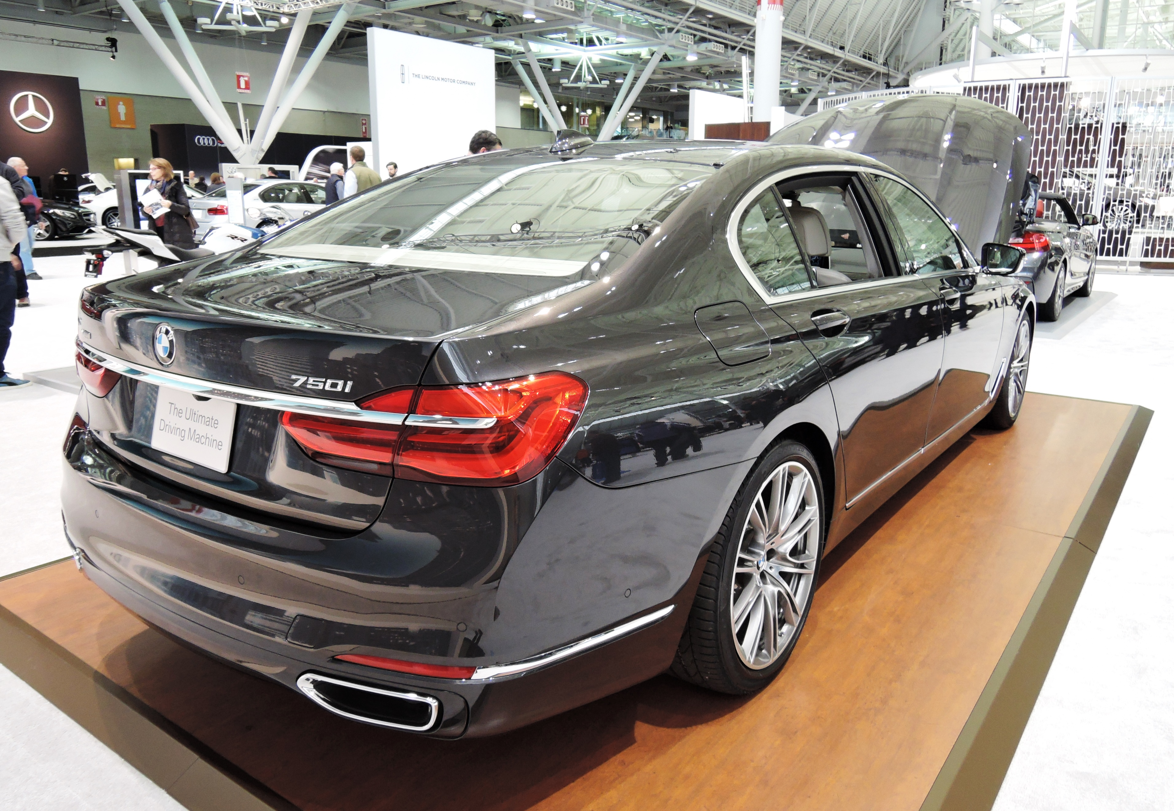 black BMW 750i xDrive Sedan - new england auto show