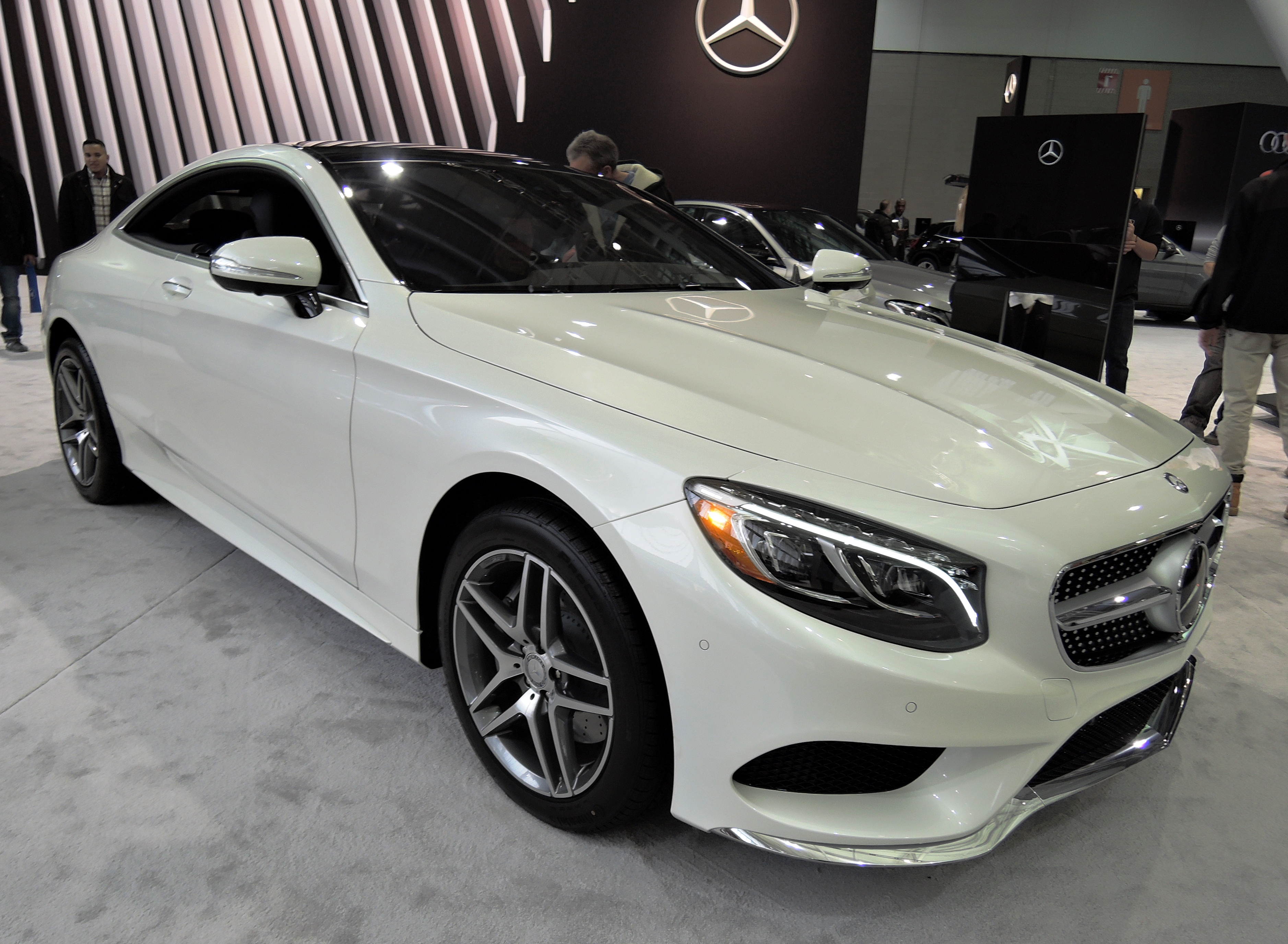 white Mercedes-Benz S Class Coupe - new england auto show