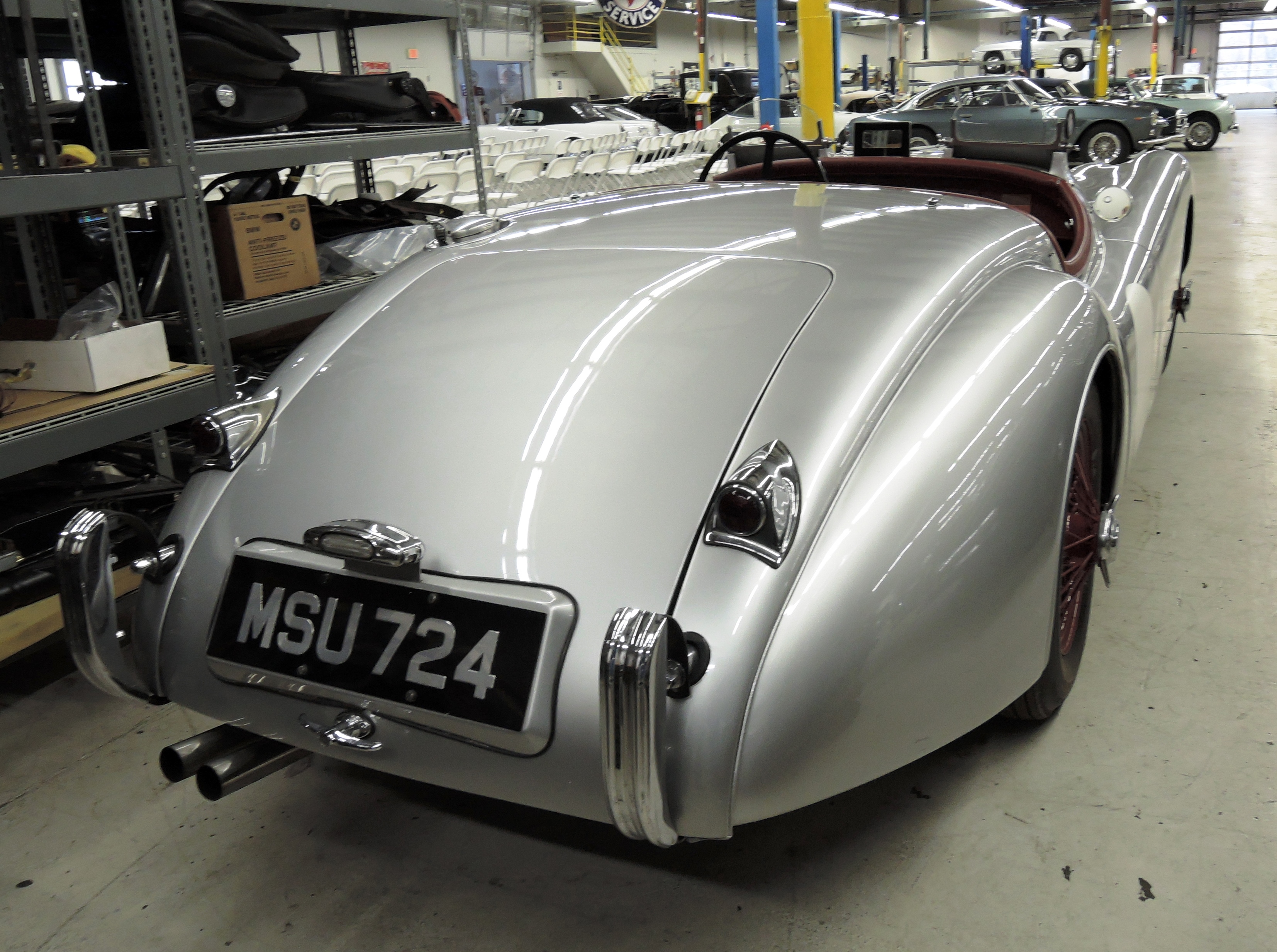 silver 1950 Jaguar XK120 Alloy Roadster - restoration shop