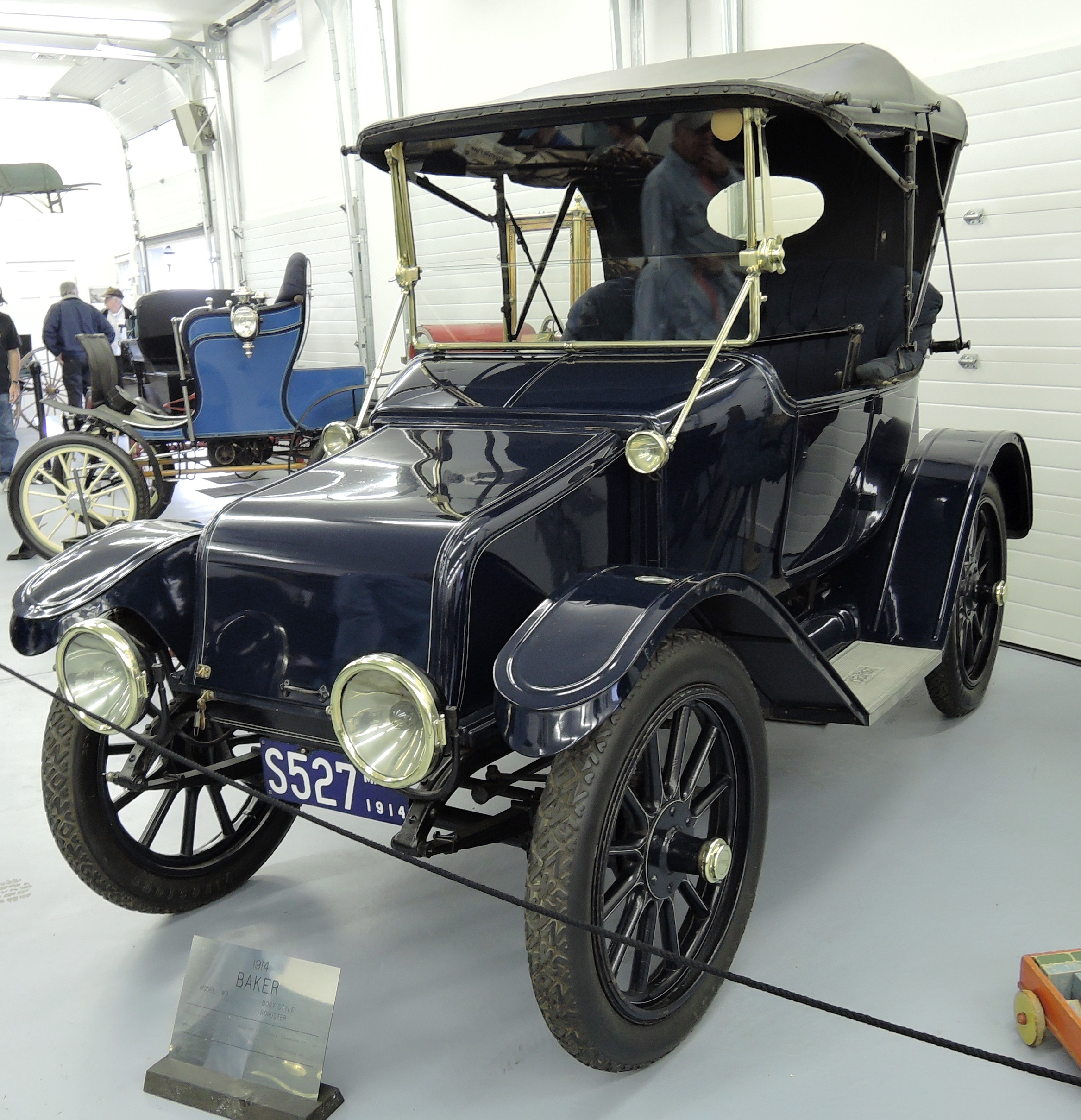 blue 1914 Baker WB Roadster body and chassis manufactured in Cleveland OH, 48 volt General Electric motor made in Schenectady, NY - bahre car collection