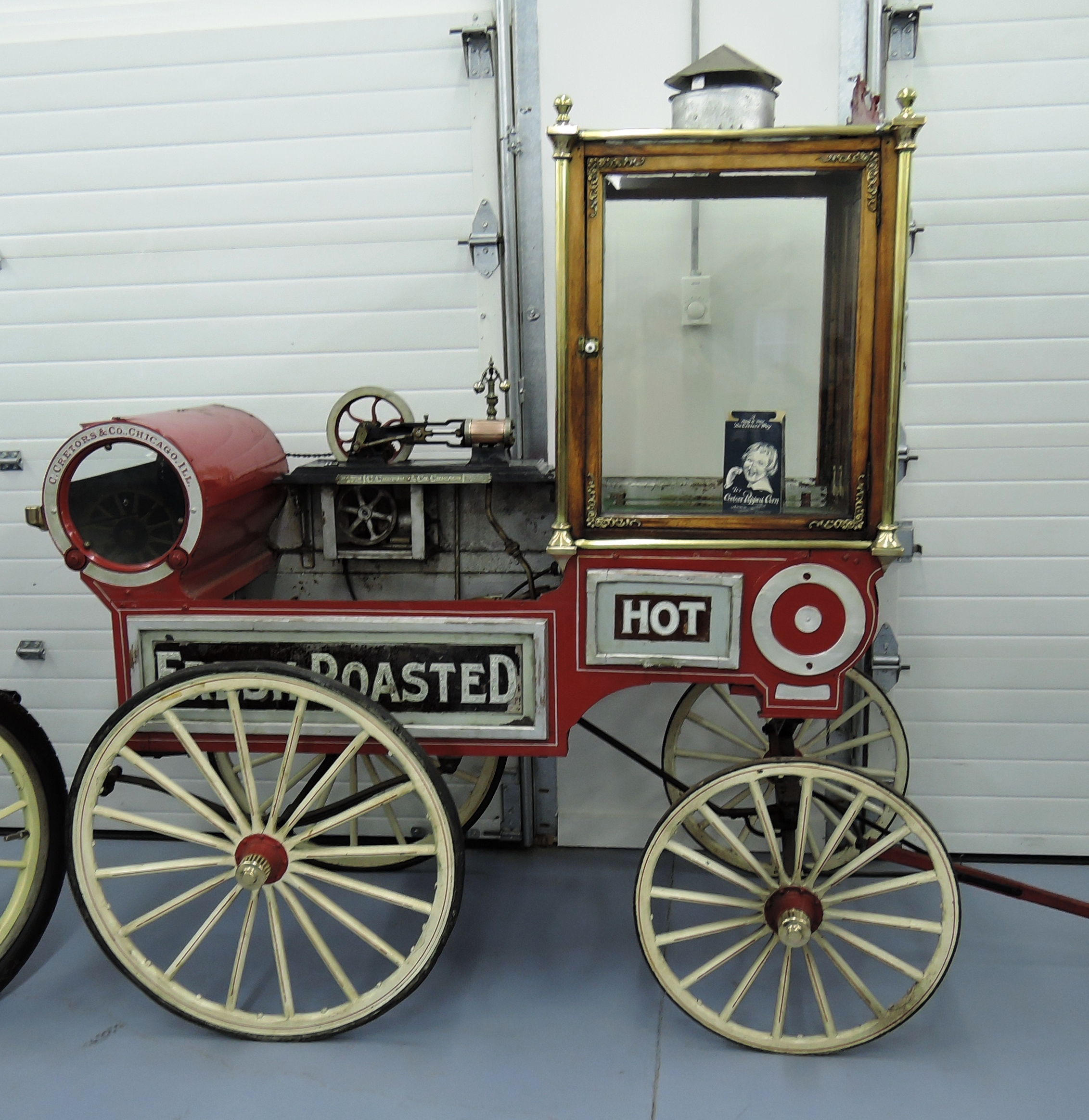 red 1905 Cretor's Popcorn Wagon - bahre car collection