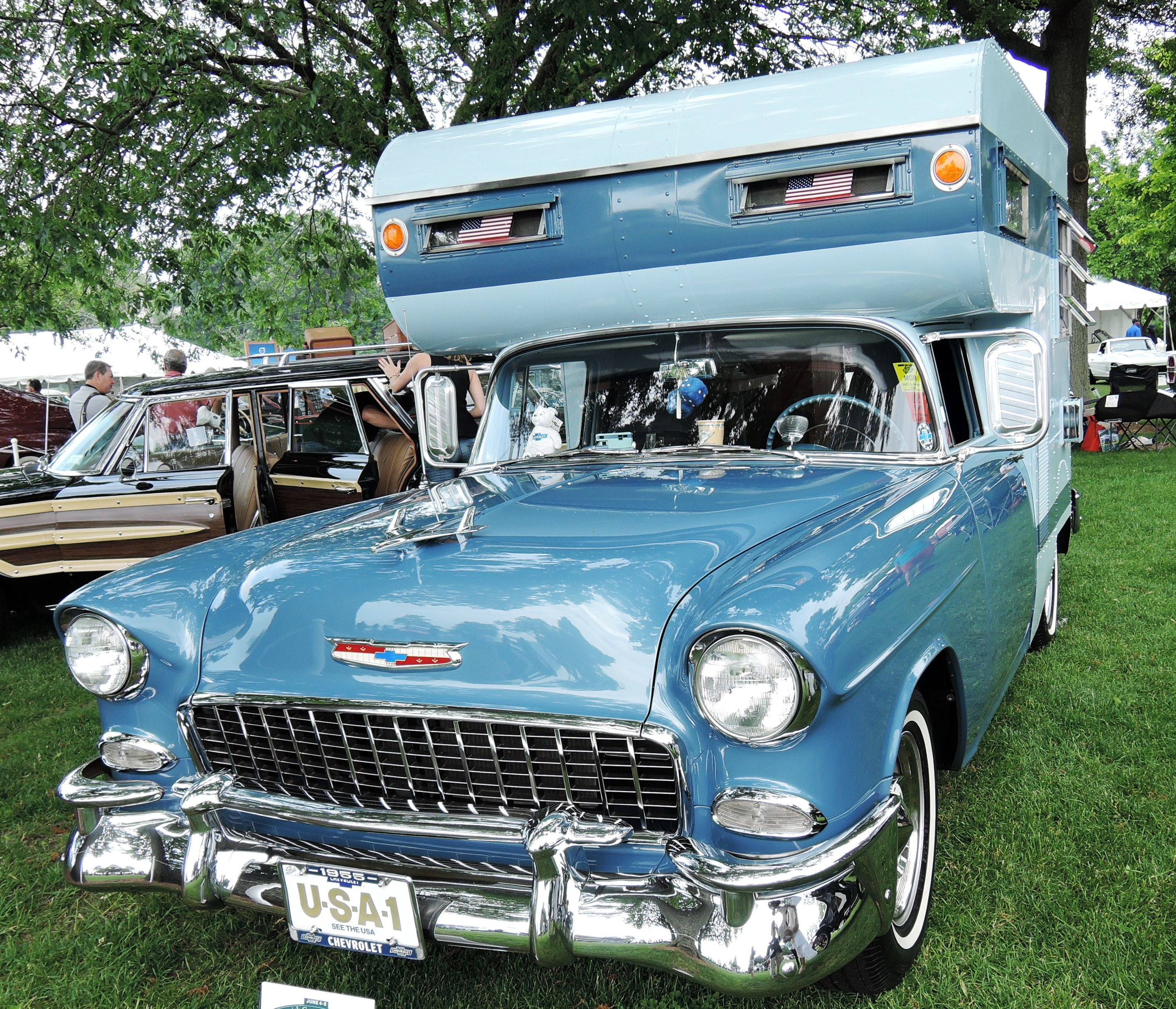 blue 1955 Chevrolet Bel Air Camper - greenwich concours