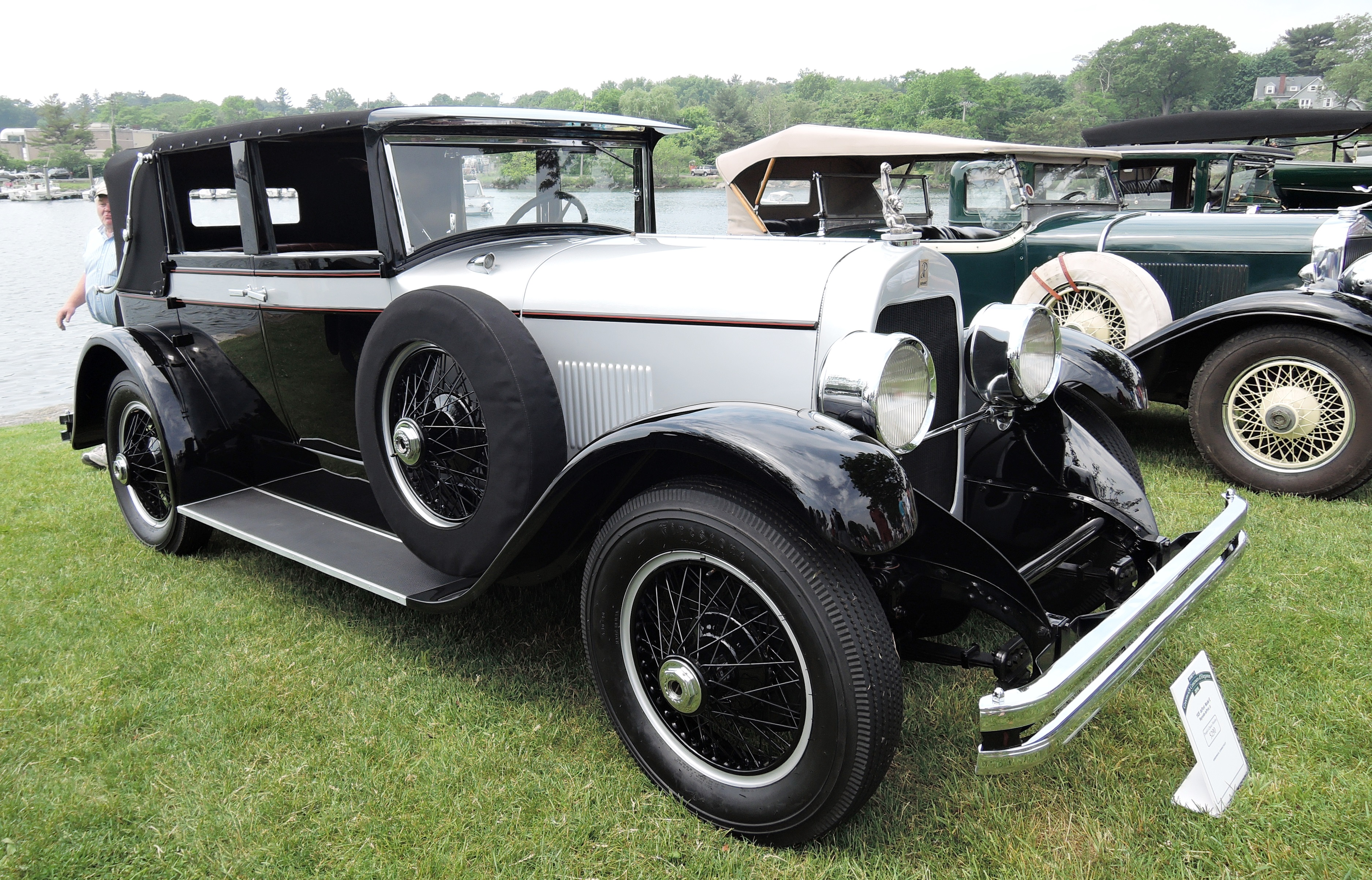 white 1928 duPont Model E - greenwich concours