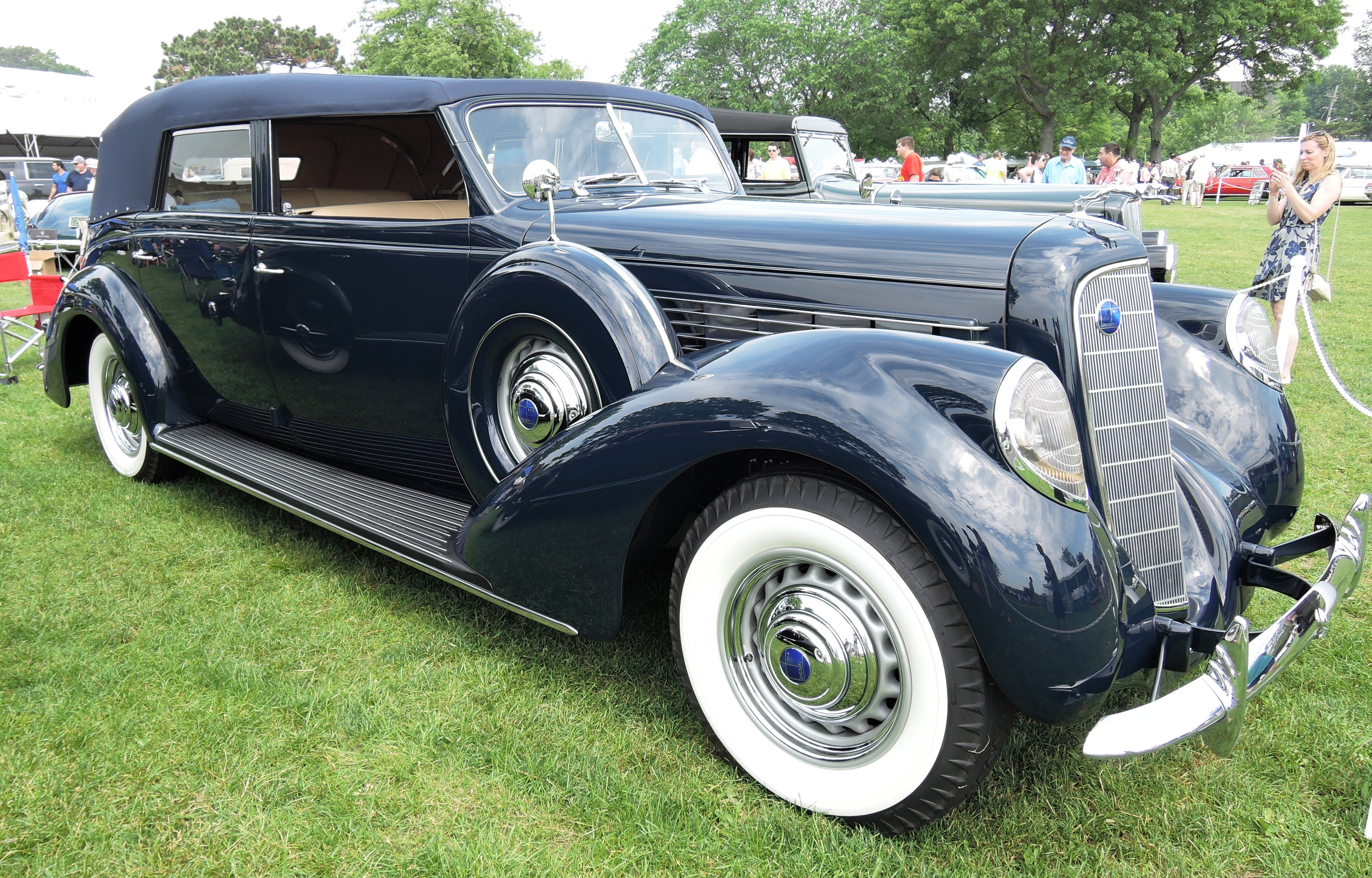 blue 1938 Lincoln Model K LeBaron - greenwich concours