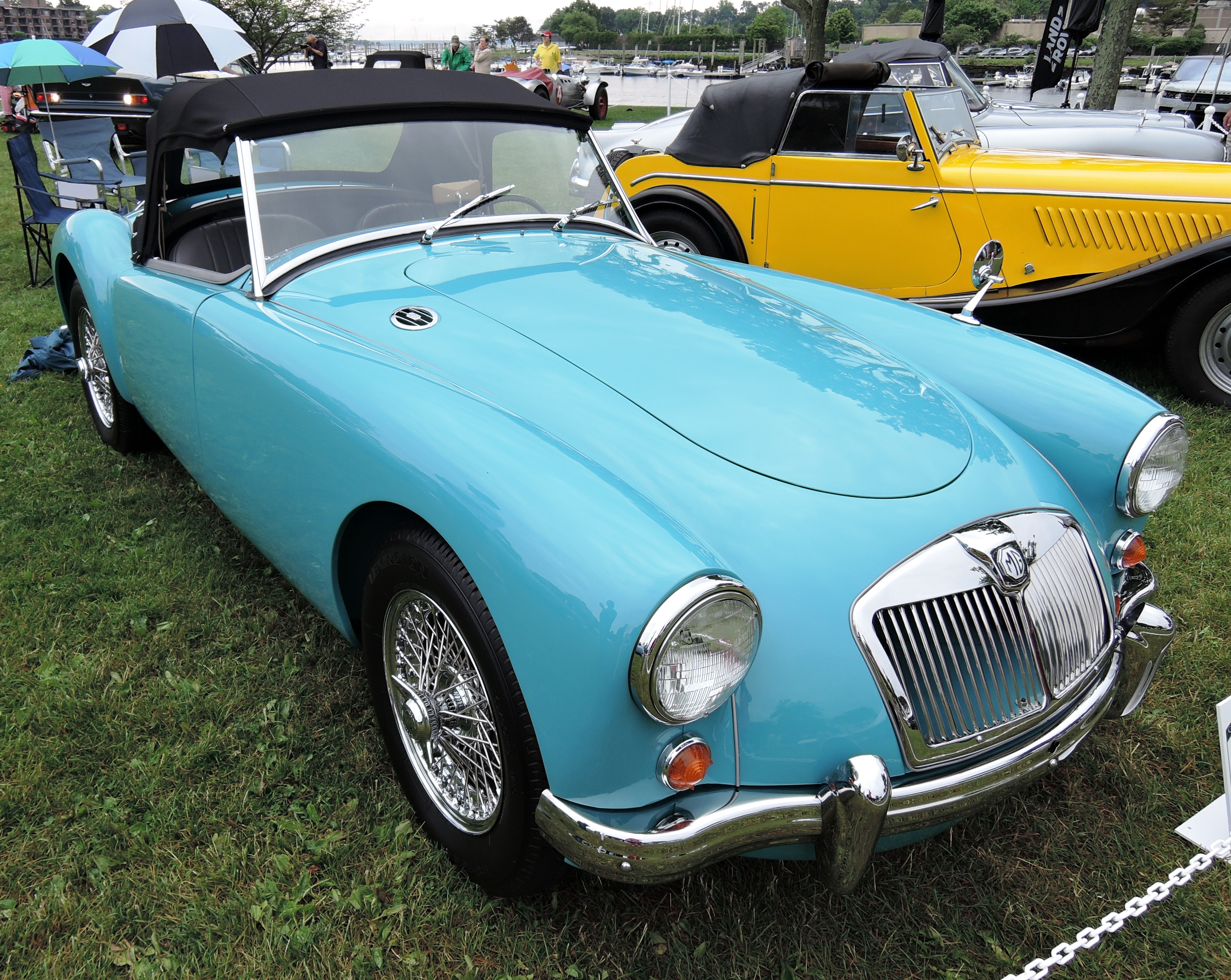 blue 1959 MG A - Greenwich concours d'elegance