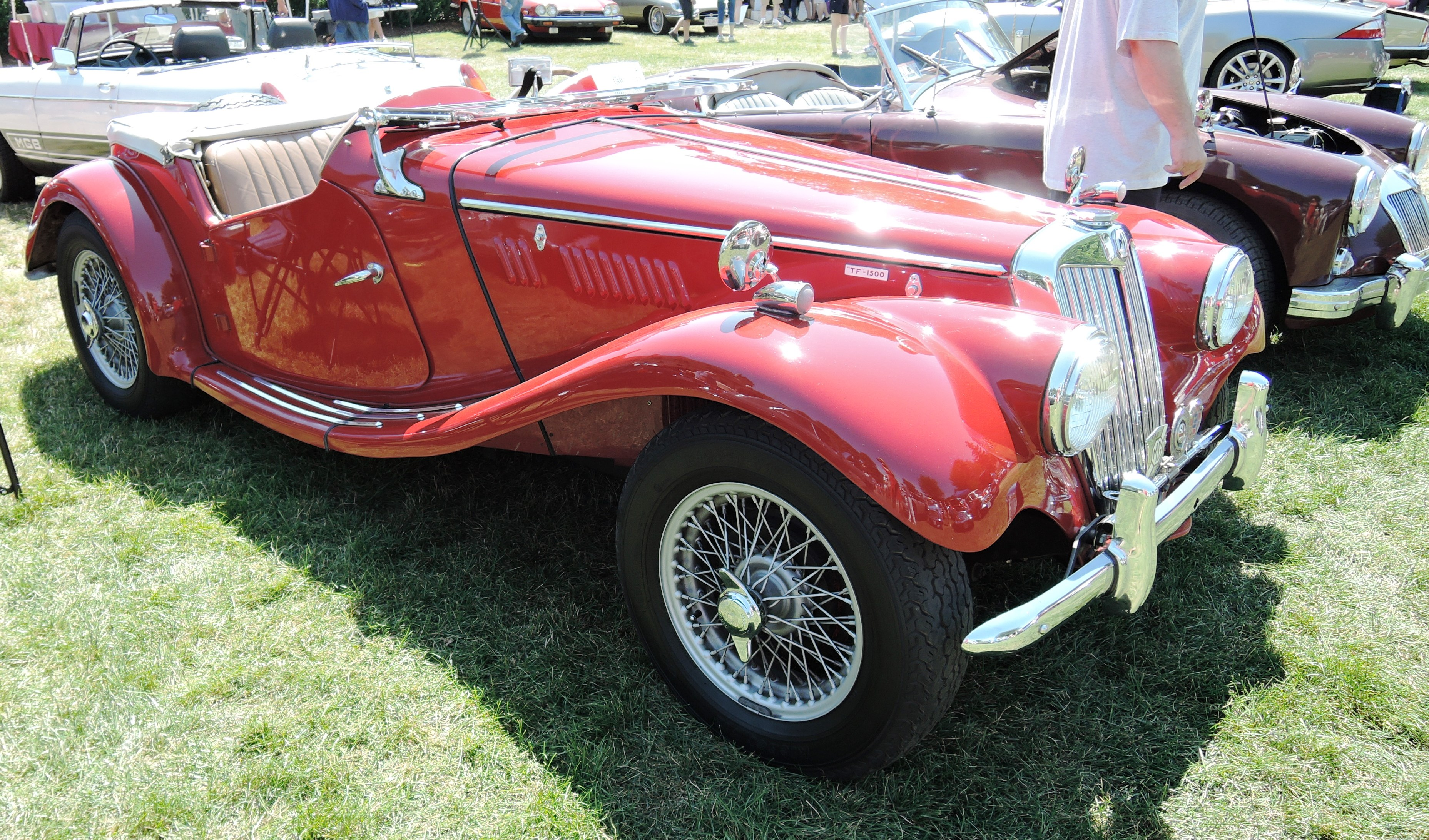 red 1955 MG TF - british car day