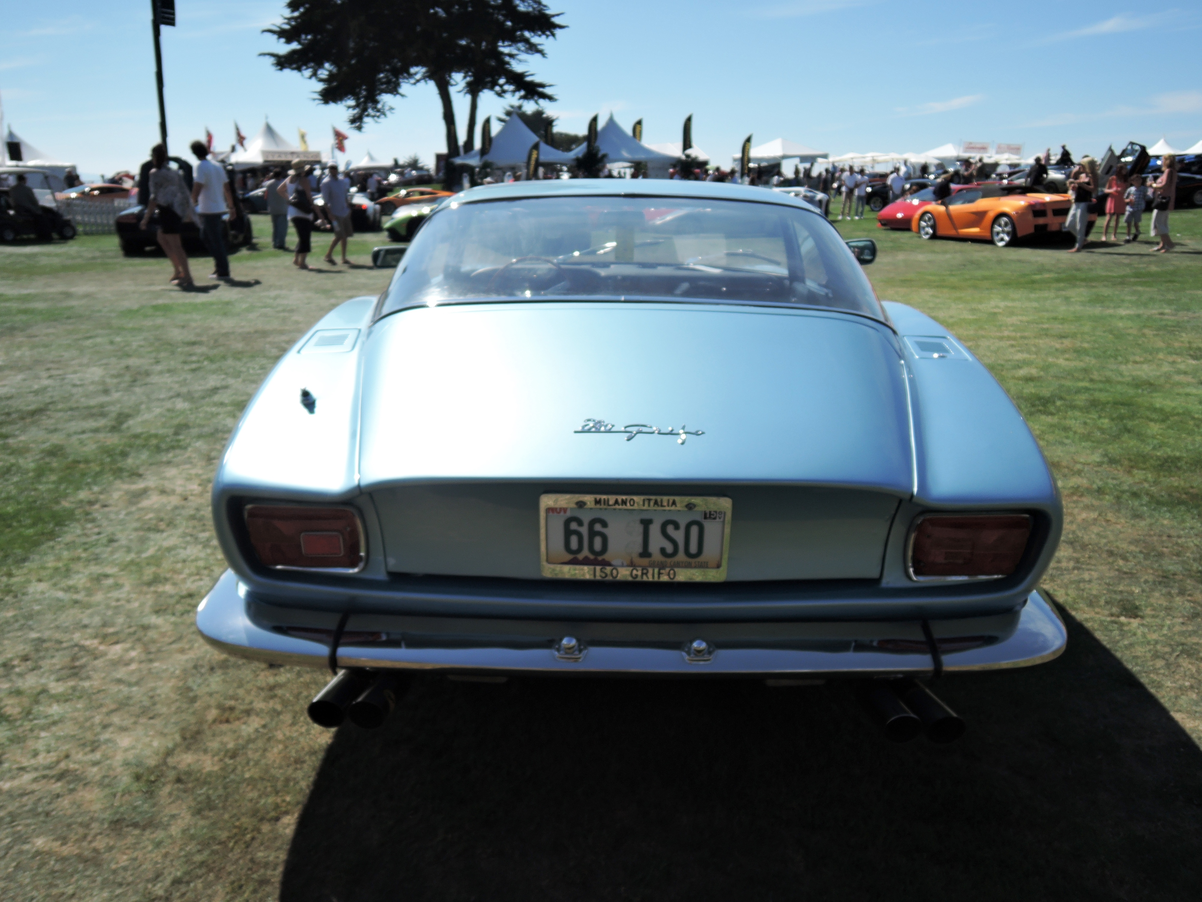 blue 1966 Iso Grifo - license plates