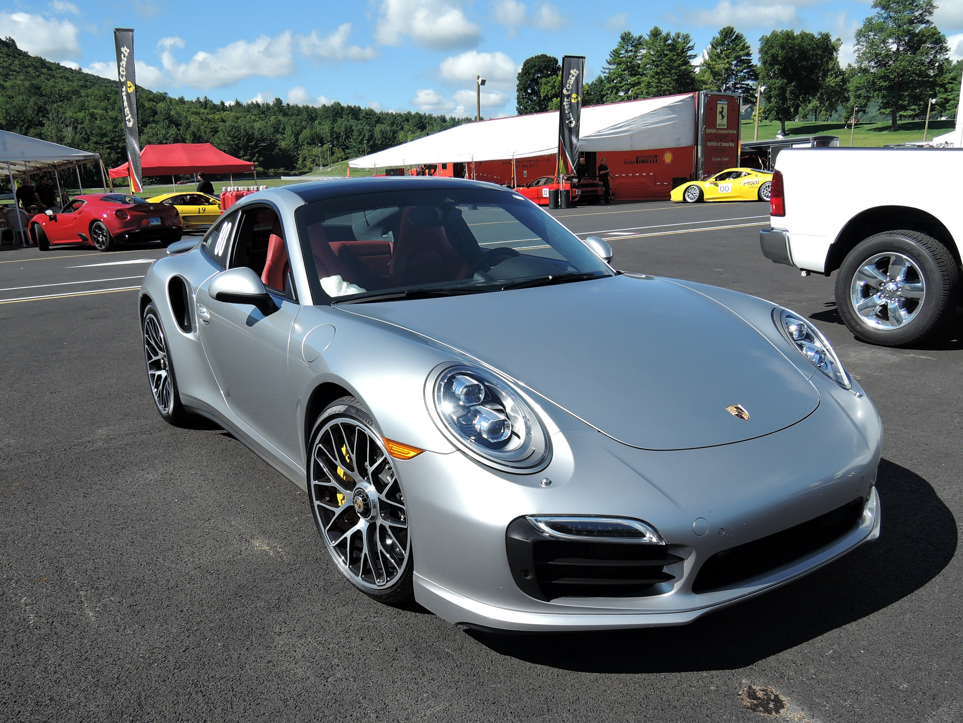 silver Porsche 911 Turbo S - lime rock park