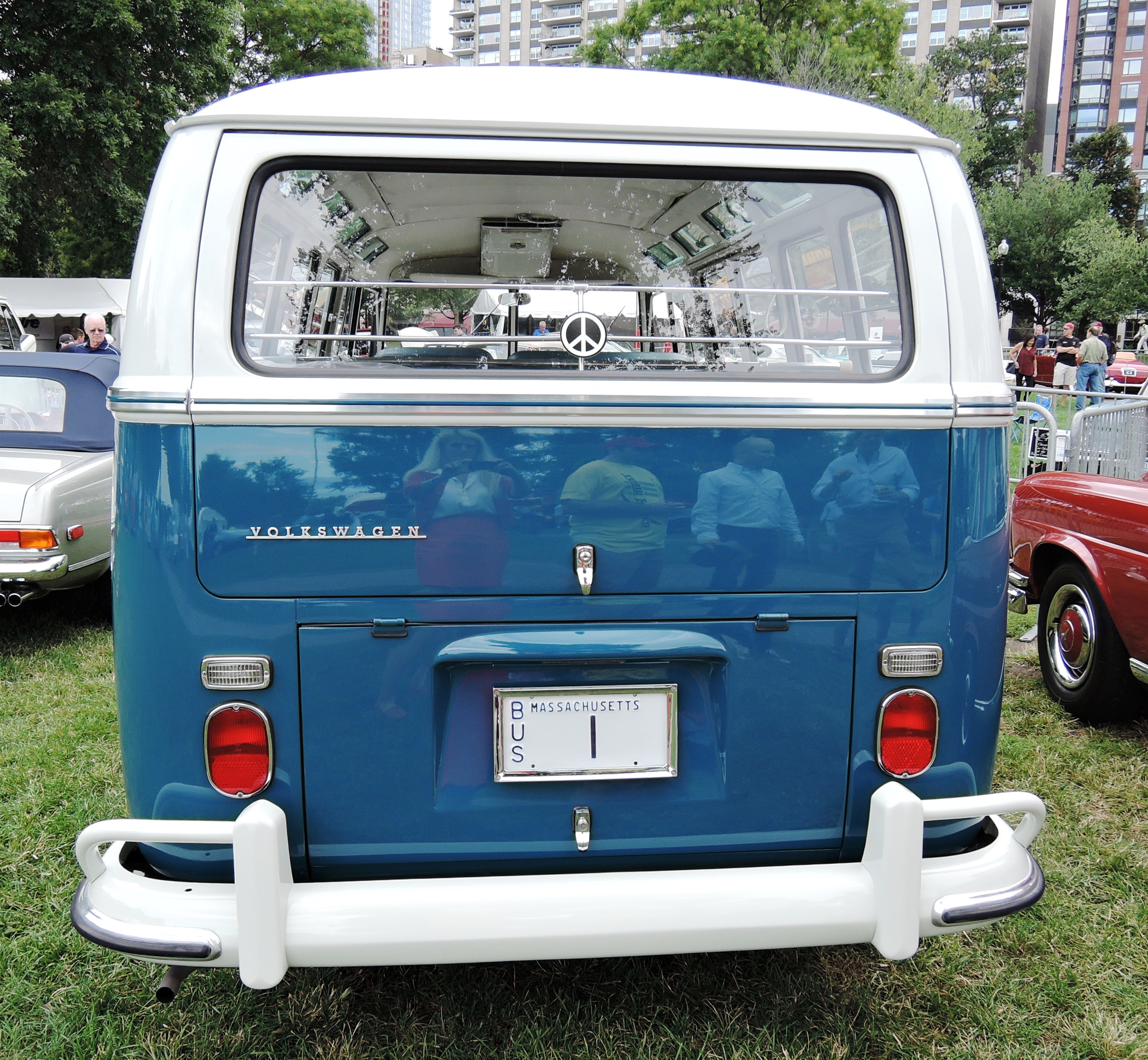 blue 1967 Volkswagen Deluxe Bus - vanity license plates