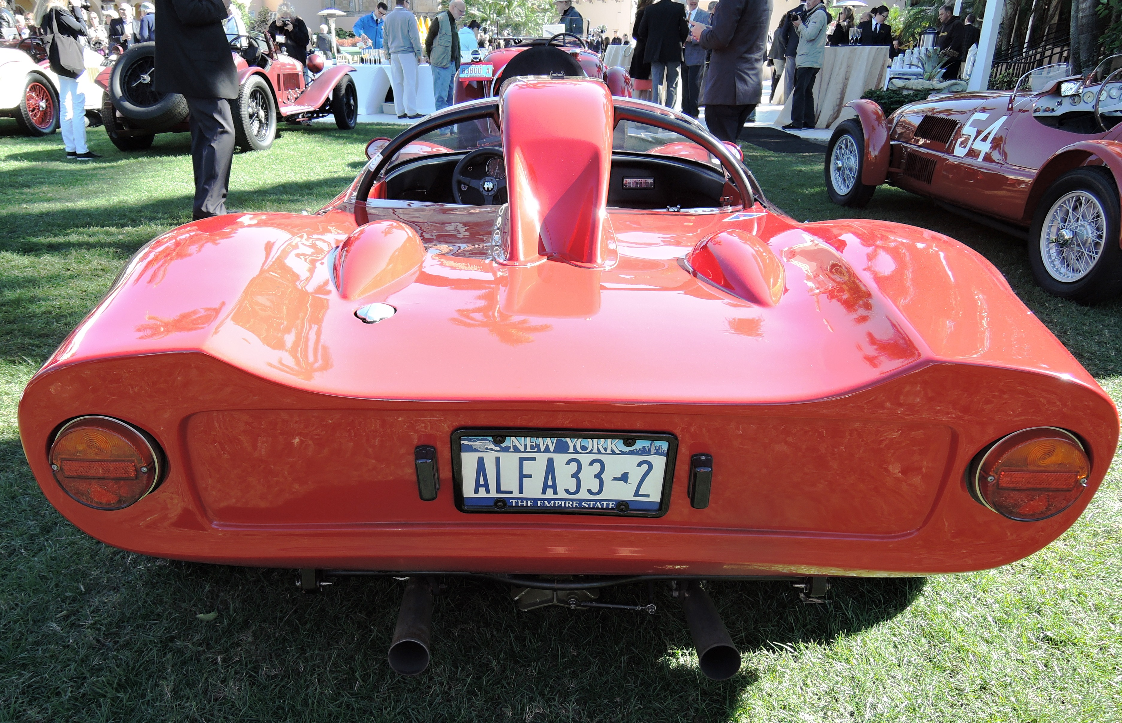 red 1967 Alfa Tipo 33 s/n 0004 - license plates