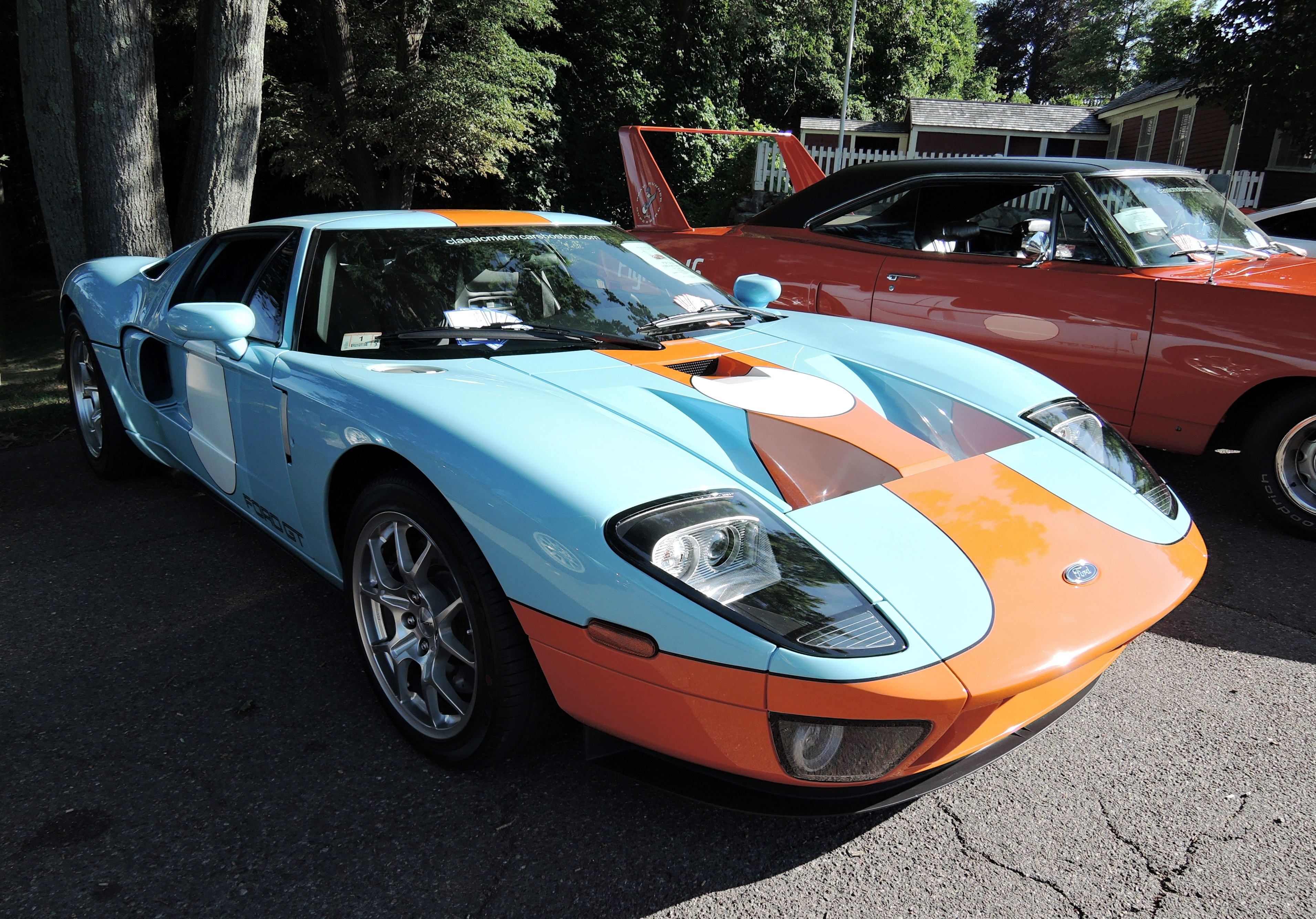 orange blue ford gt - Cars and coffee at larz