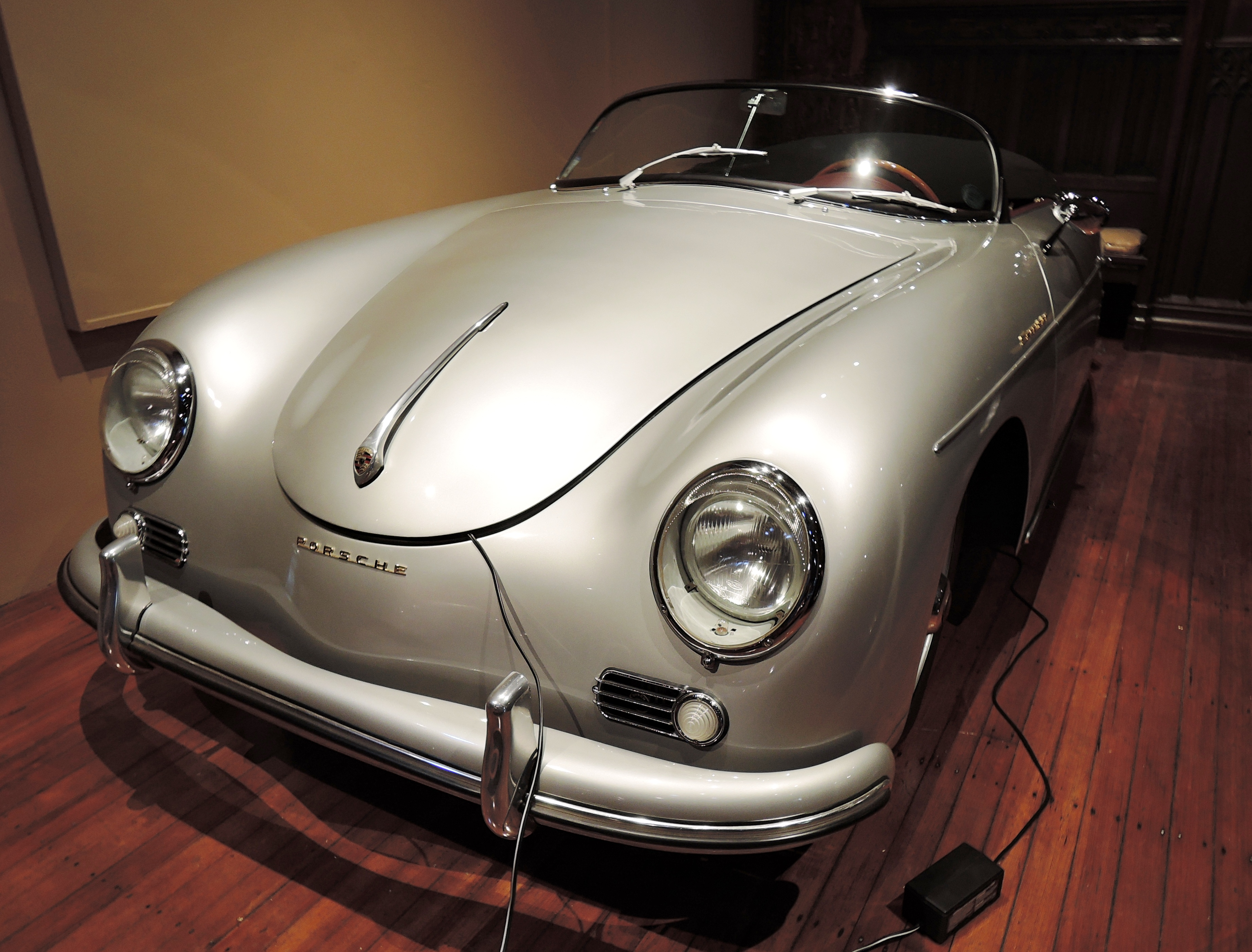 silver 1957 Porsche 356A Speedster - cars and coffee at larz