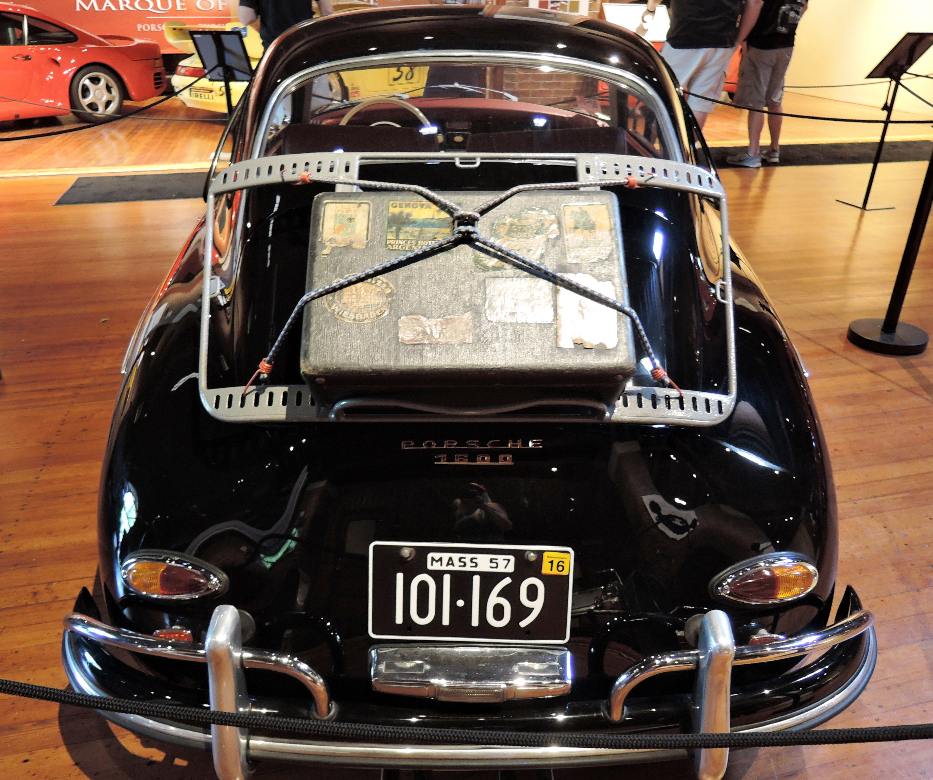black 1957 Porsche 356A 1600 Reutter Coupe - cars and coffee at larz