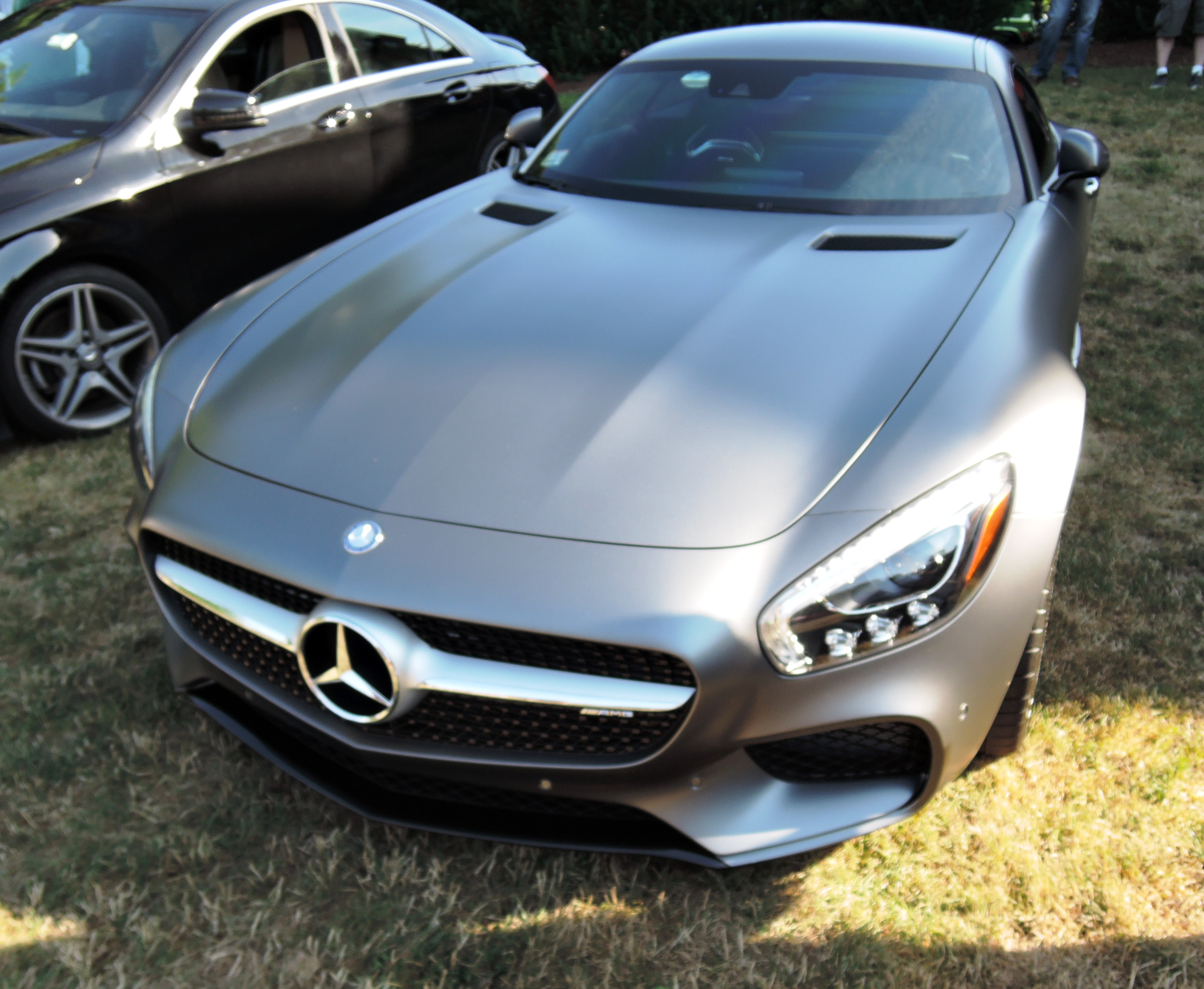 black mercedes benz - Cars and coffee at larz
