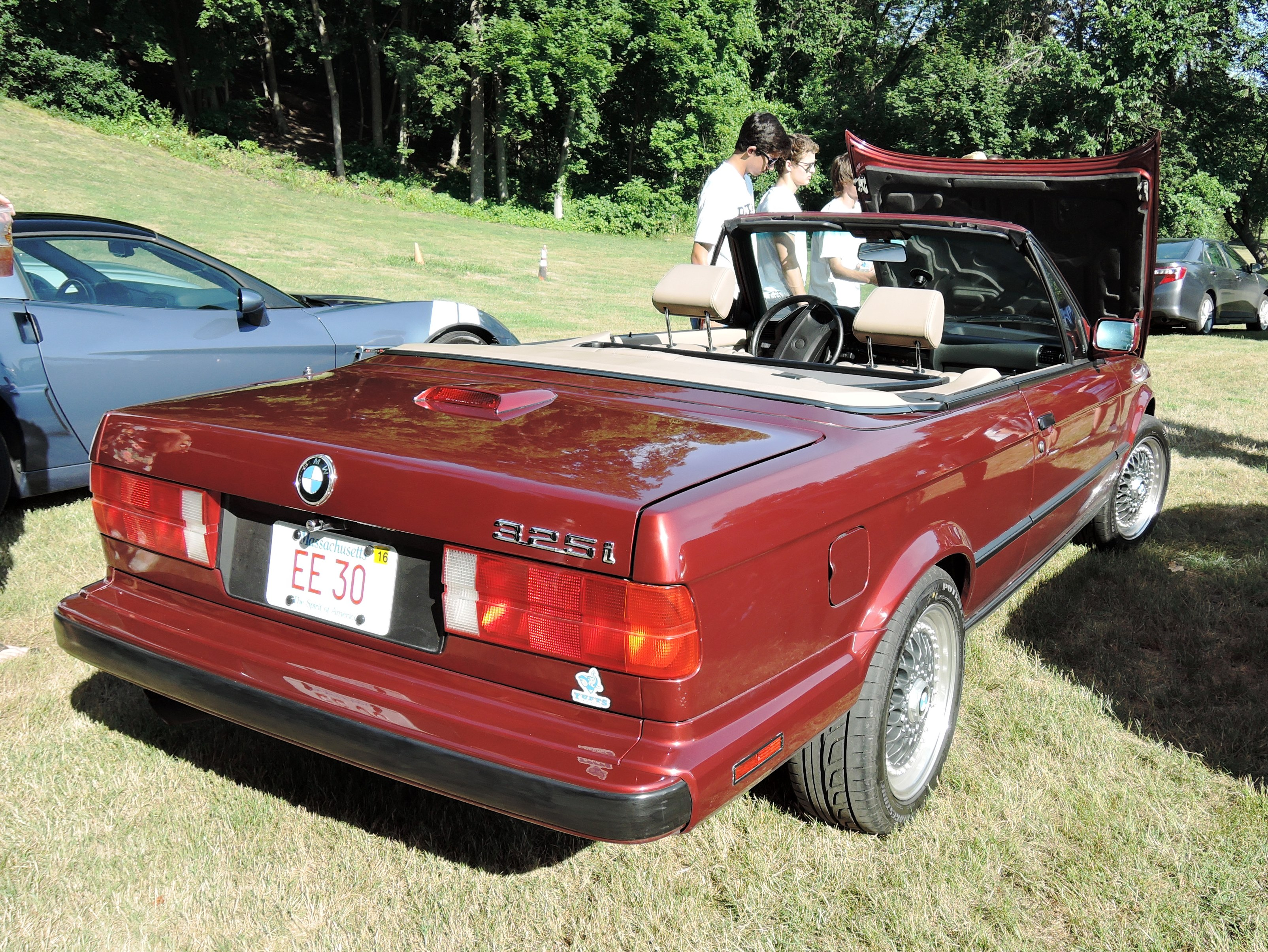 maroon bmw e30 - Cars and coffee at larz