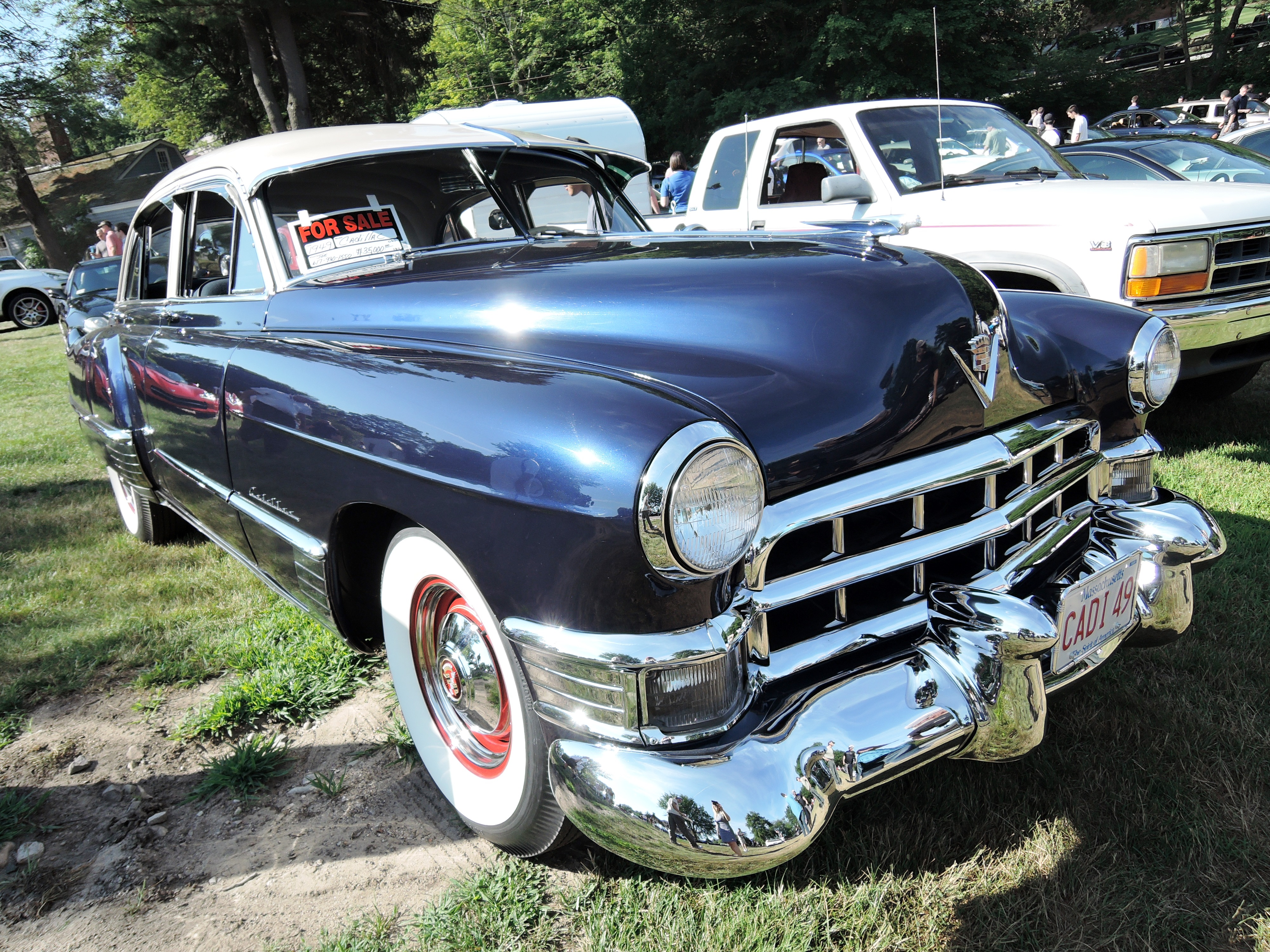 blue 1949 cadillac - Cars and coffee at larz