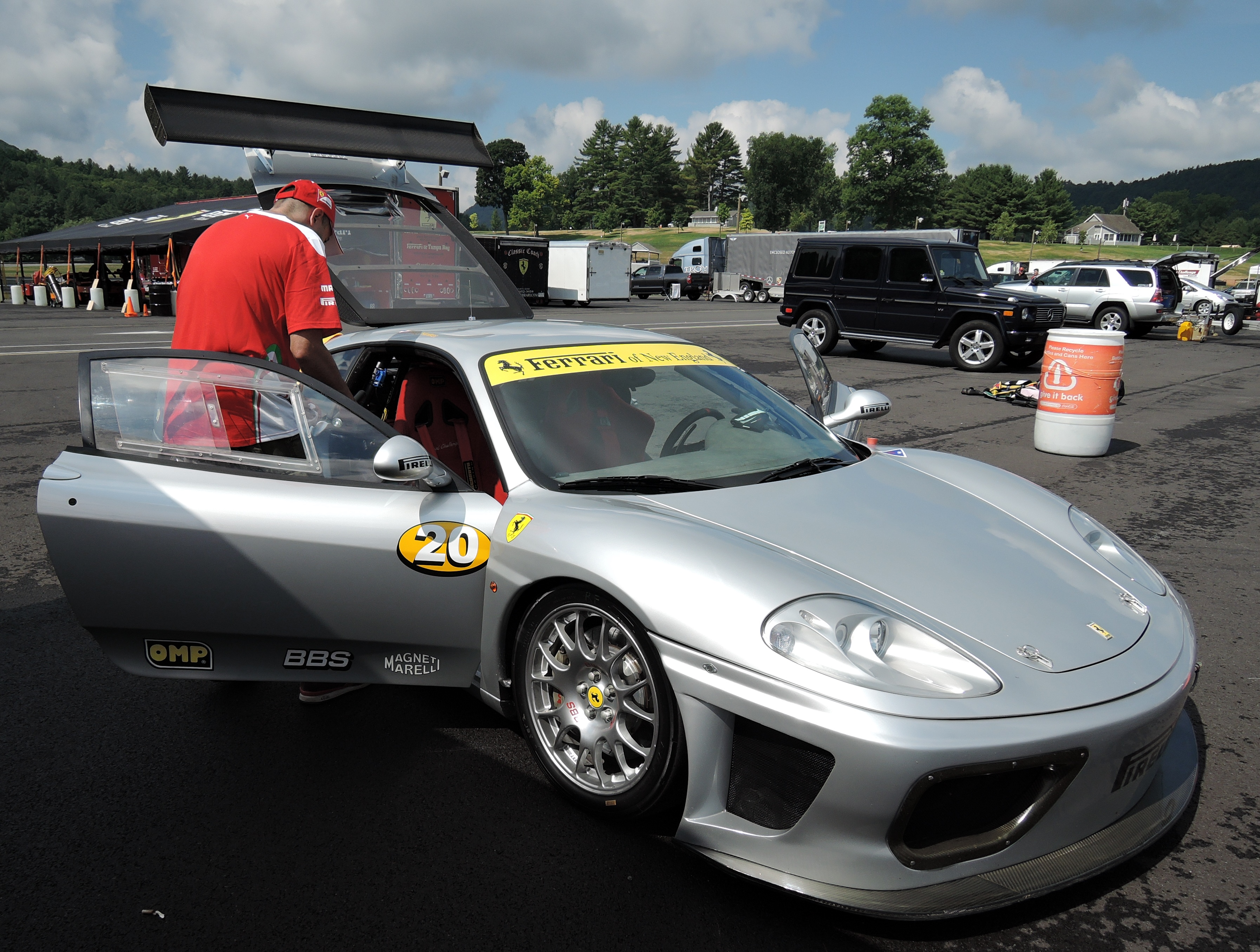silver ferrari 360 challenge car - ferraris at lime rock park