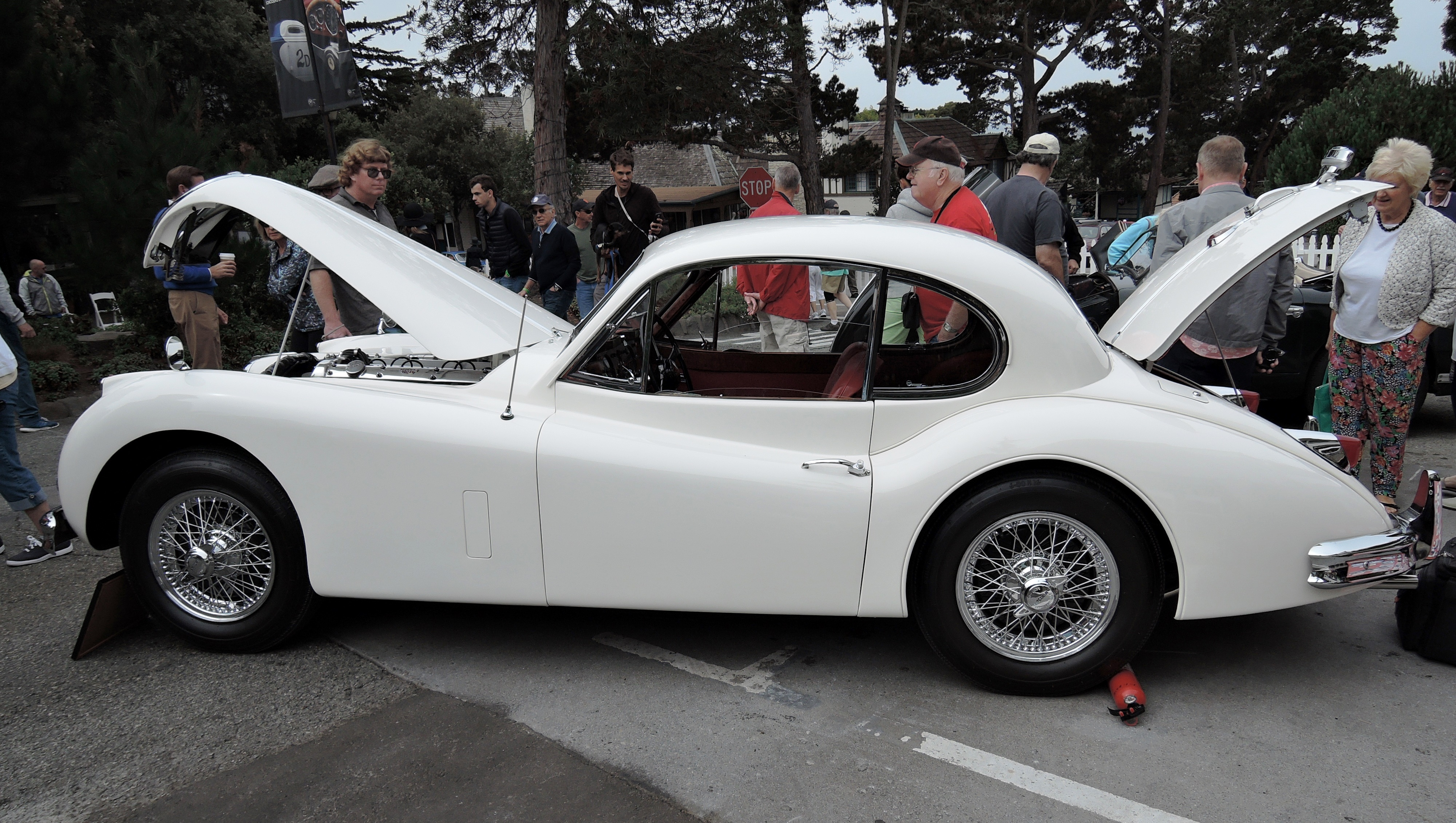 cream/red 1955 Jaguar 3.4L XK140 - Concours on the Ave Carmel