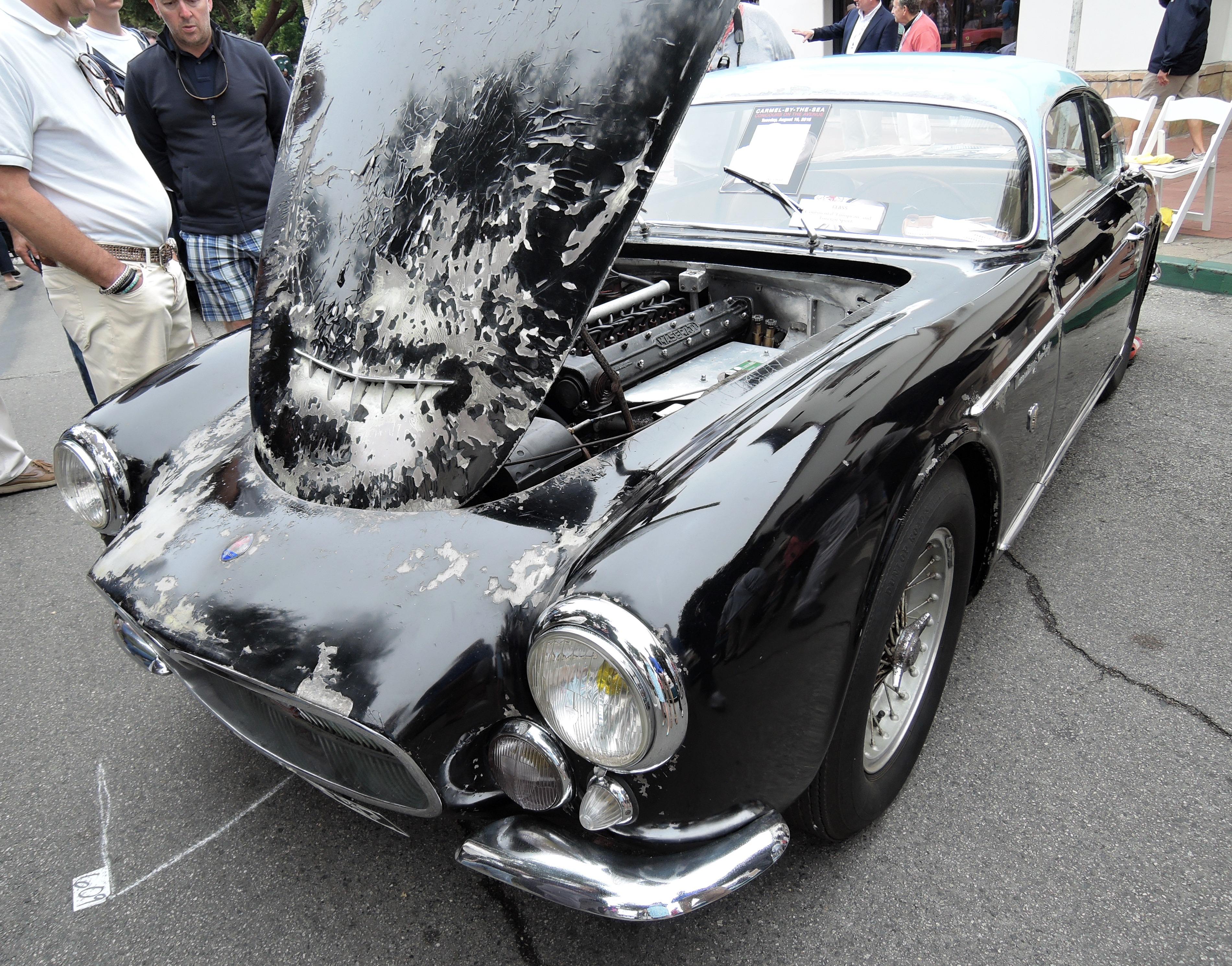 unrestored black 1956 Maserati A6G Gran Sport Berlinetta Frua - Concours on the Ave Carmel