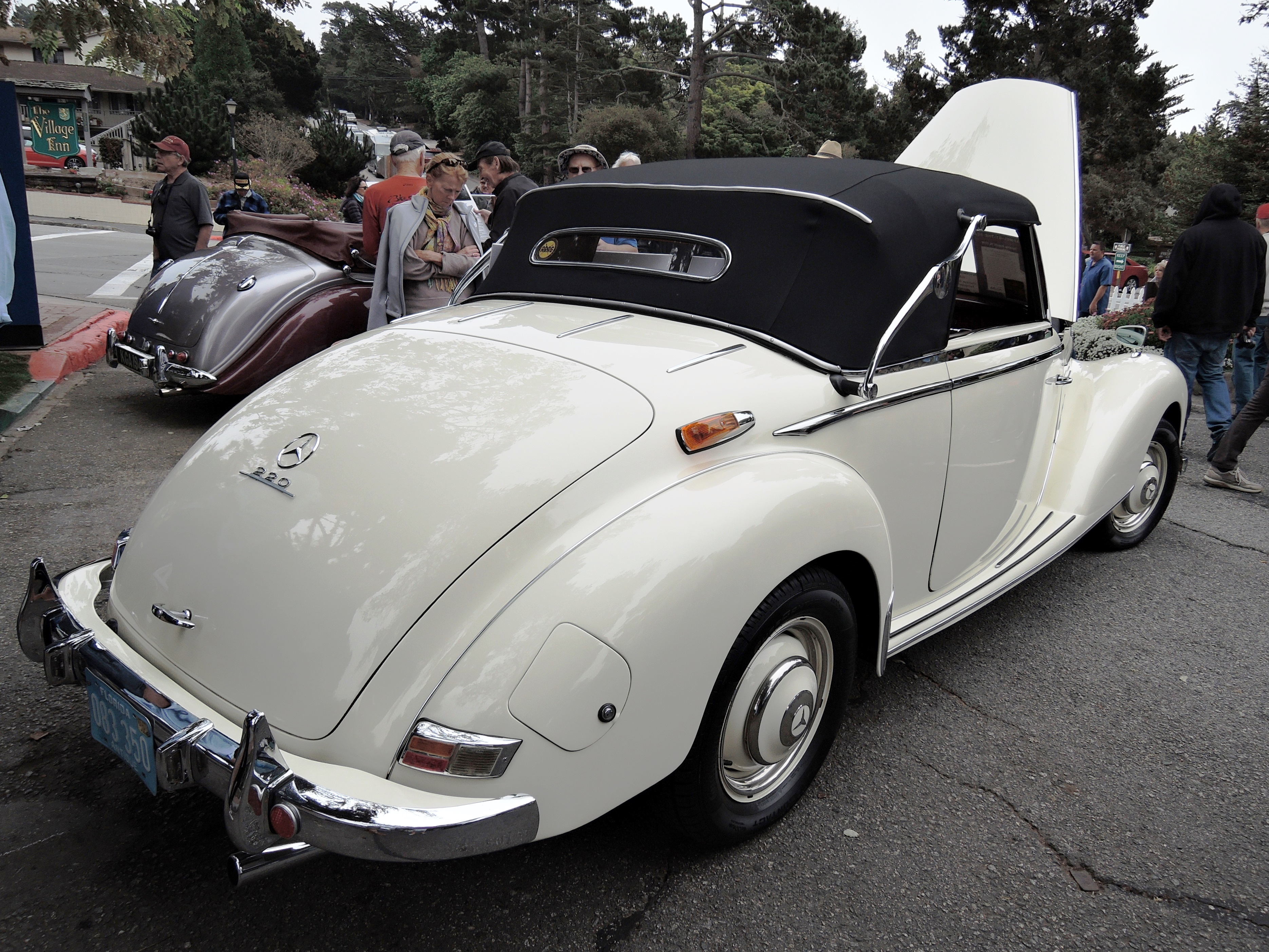 white 1954 Mercedes-Benz 220 Cabriolet A - Concours on the Ave Carmel