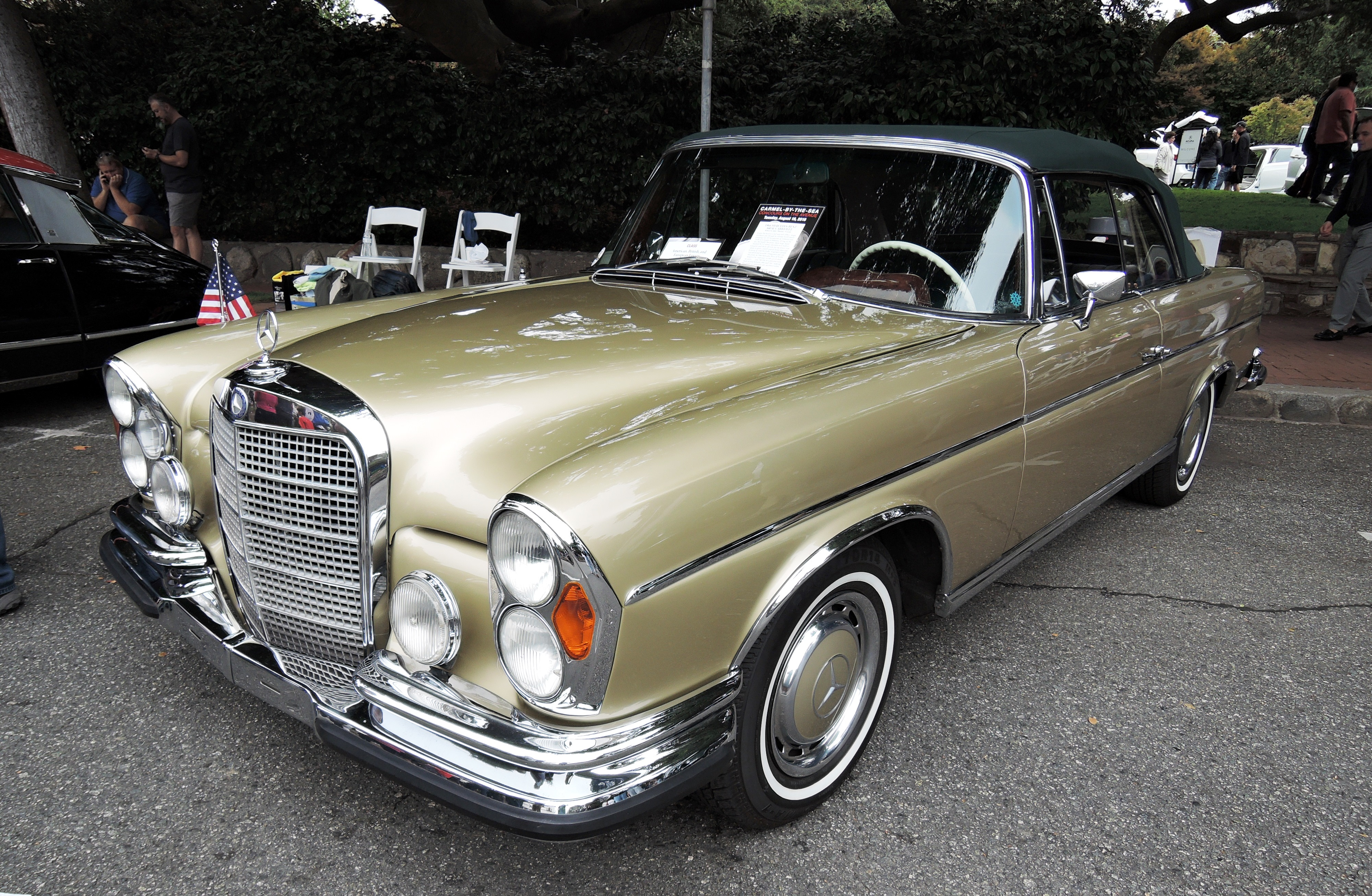 gold/green 1966 Mercedes-Benz 300 SE Cabriolet - Concours on the Ave Carmel