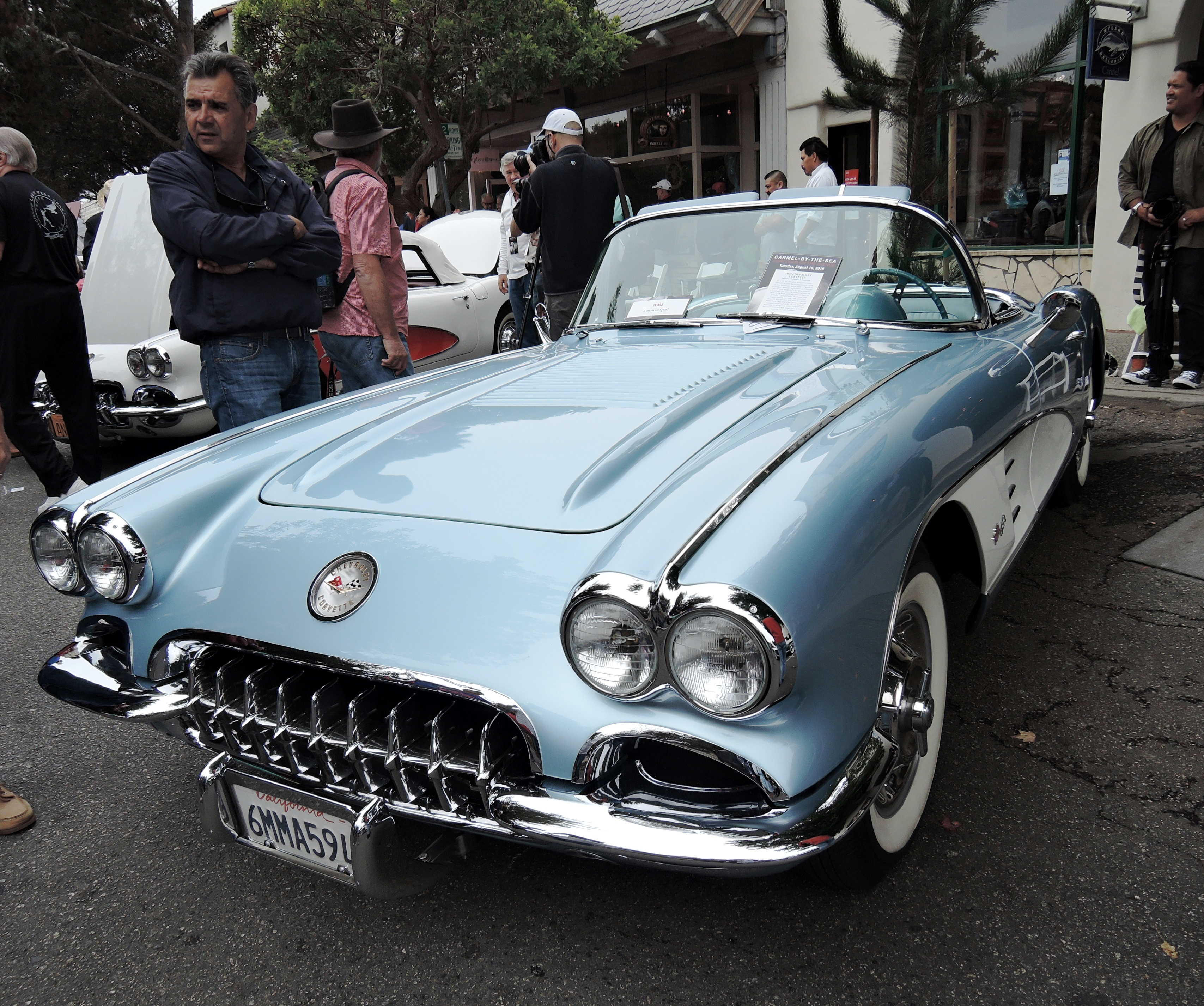 blue 1958 Chevrolet Corvette - Concours on the Ave Carmel
