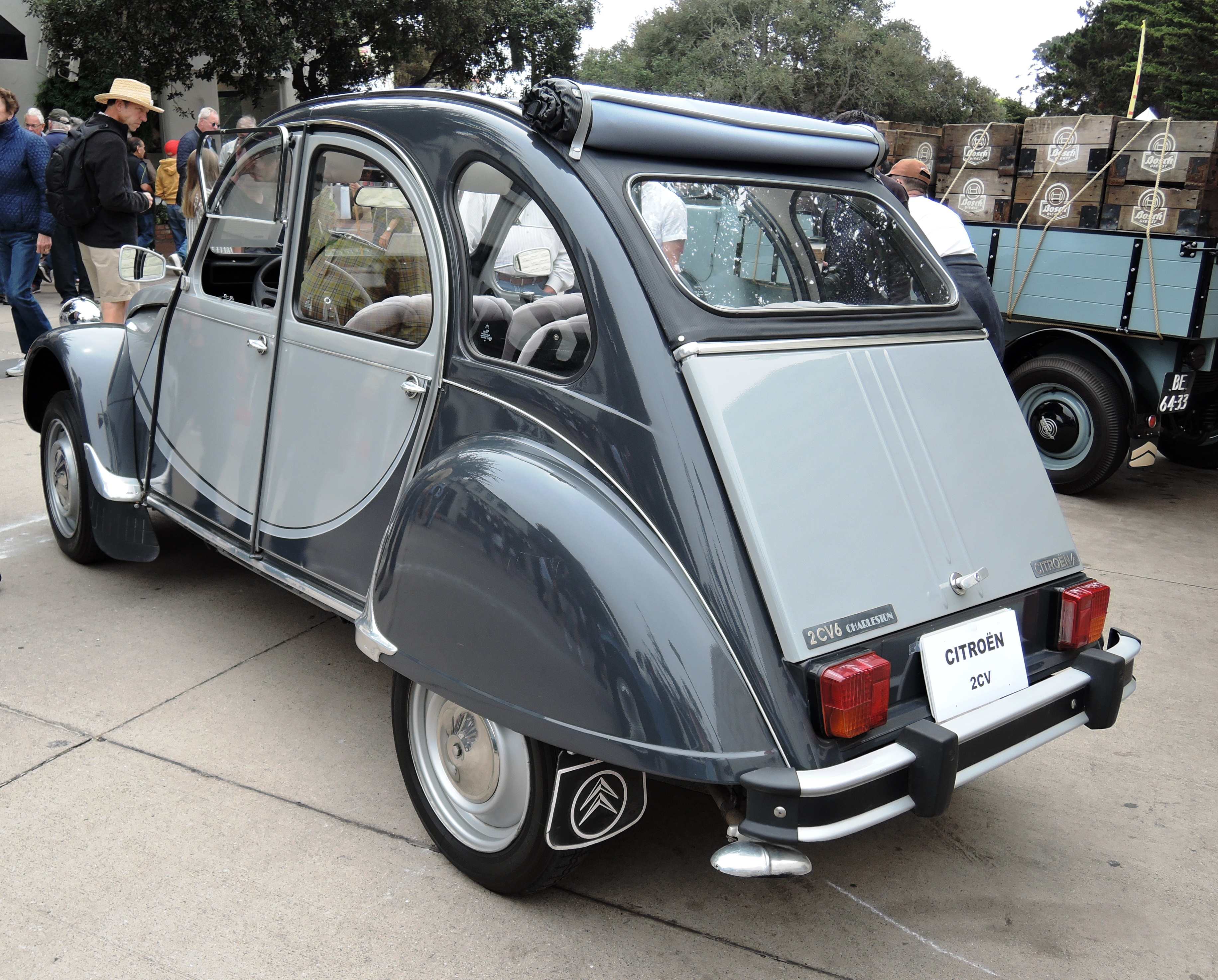 two tone blue 1965 Citroen 2CV - Concours on the Ave Carmel