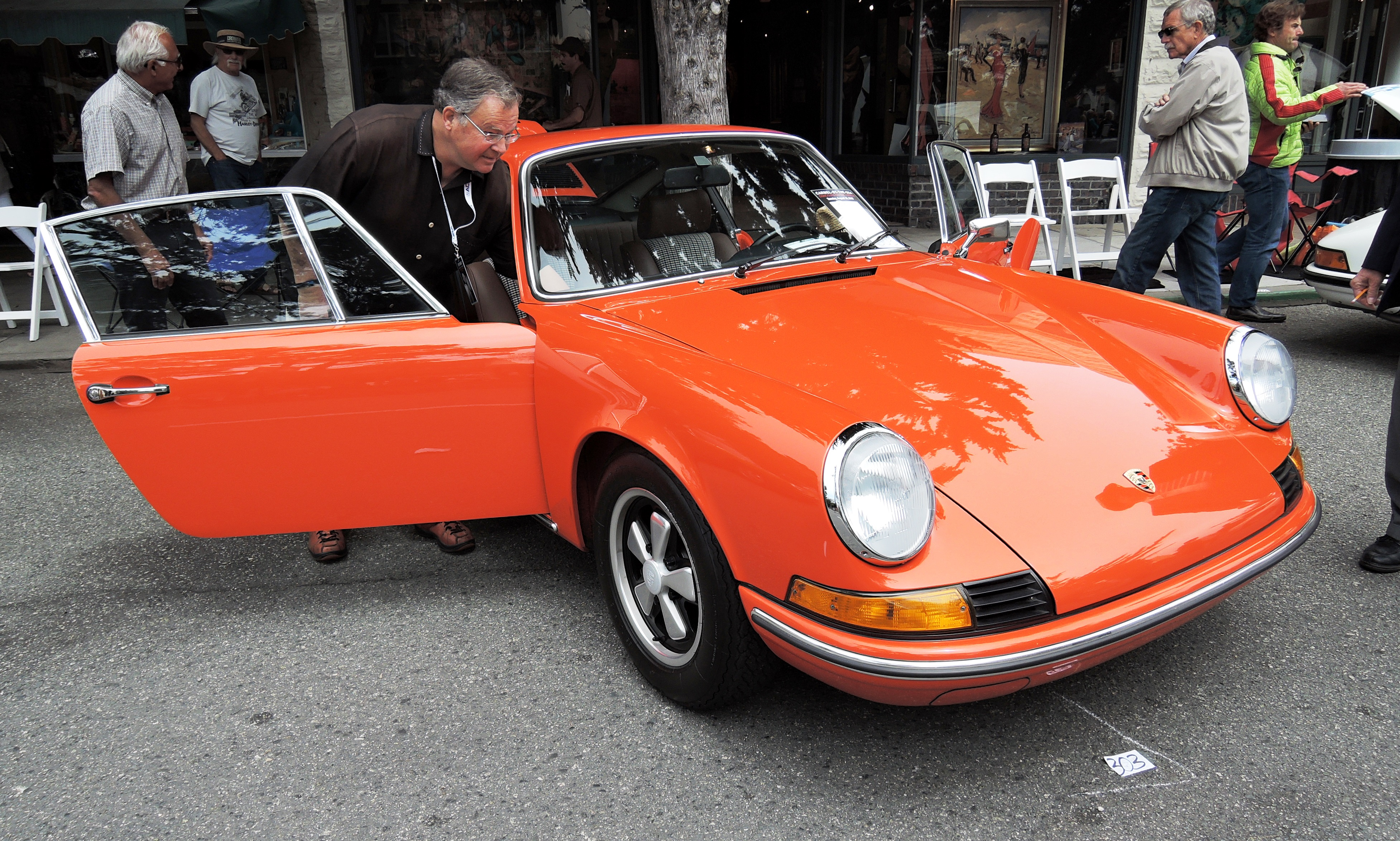 Tangerine 1973 Porsche 911 T - Concours on the Ave Carmel