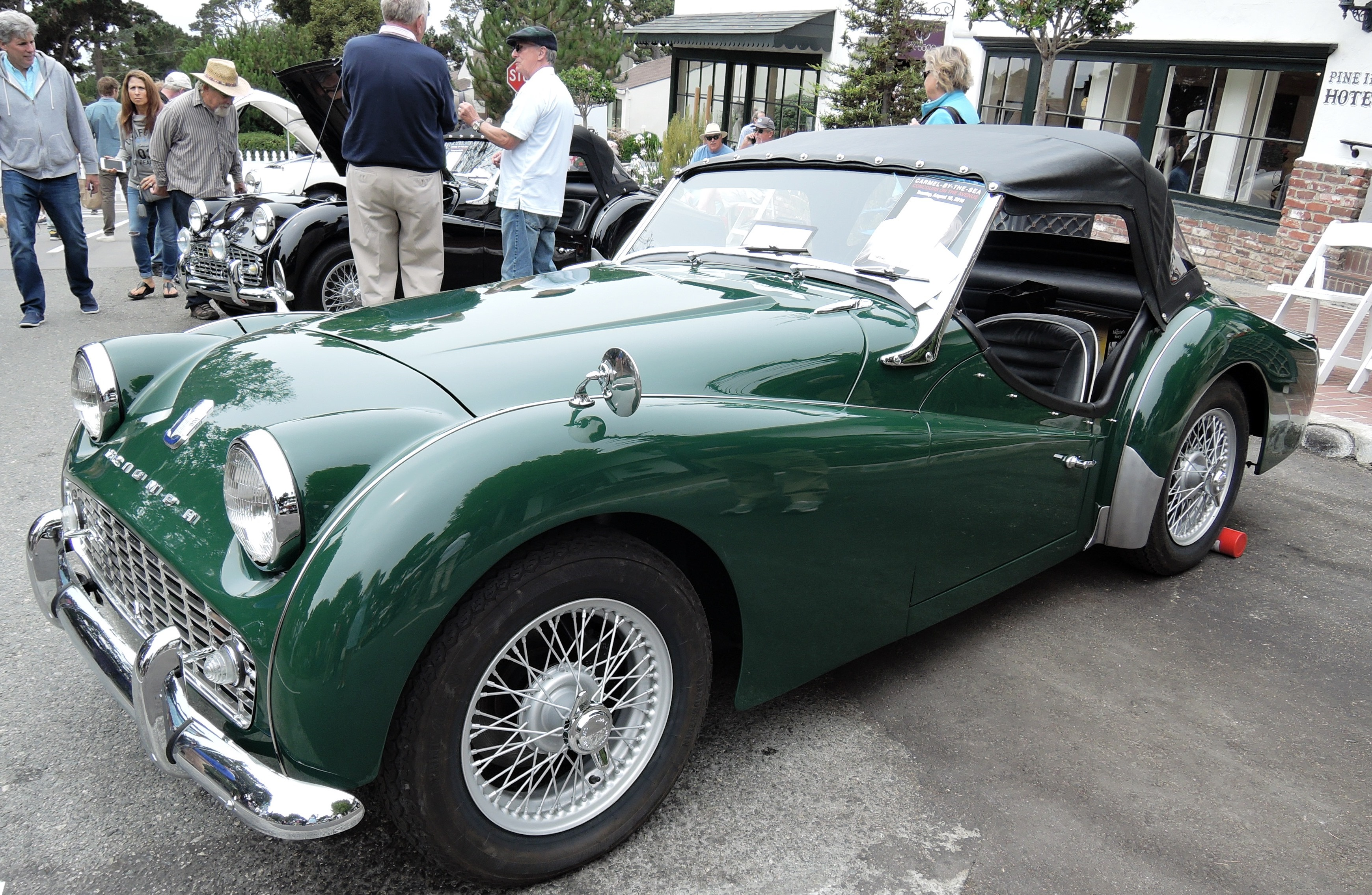 green 1962 Triumph TR3 - Concours on the Ave Carmel