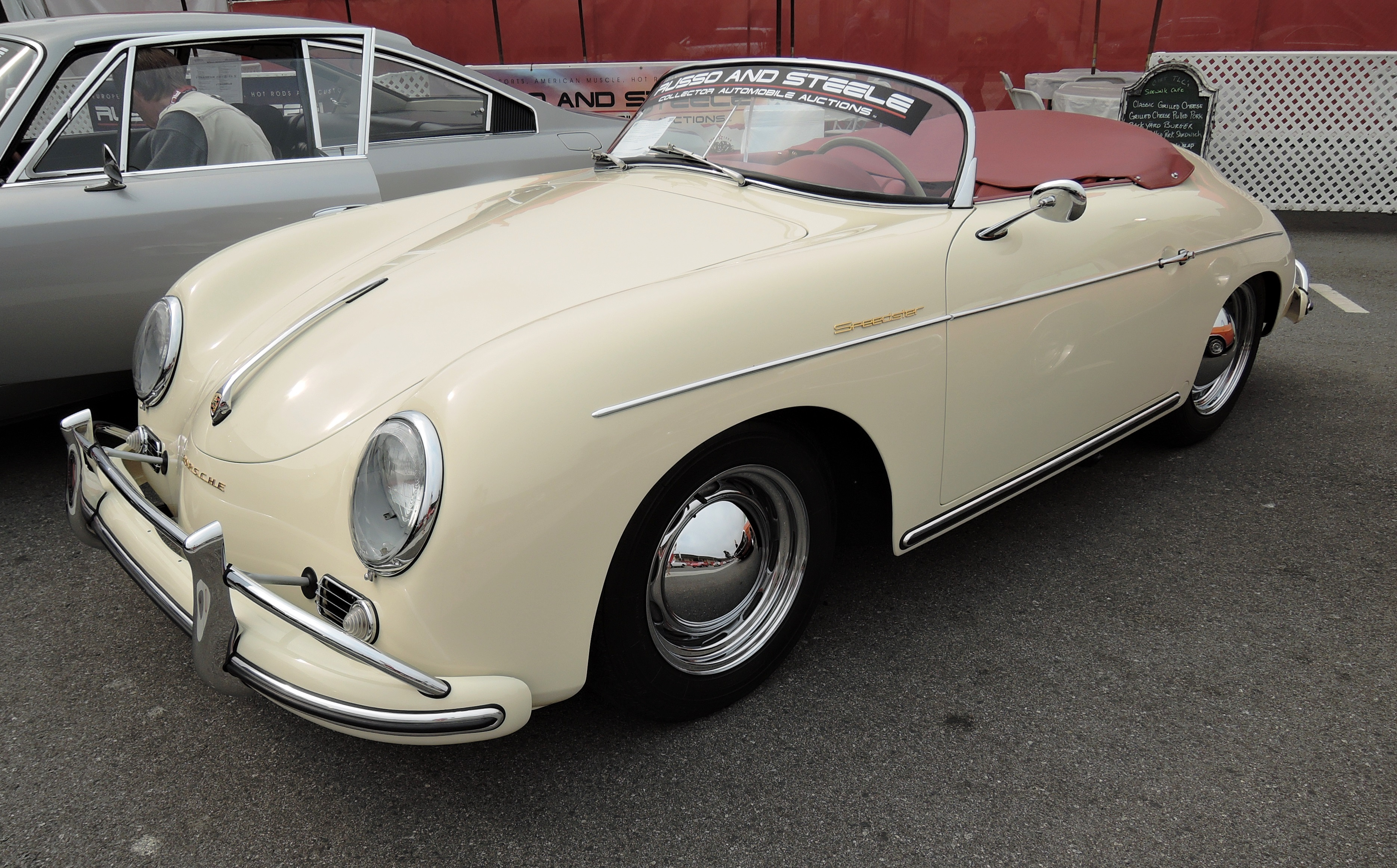 white/red 1957 Porsche 356 Speedster - monterey auctions russo & steele