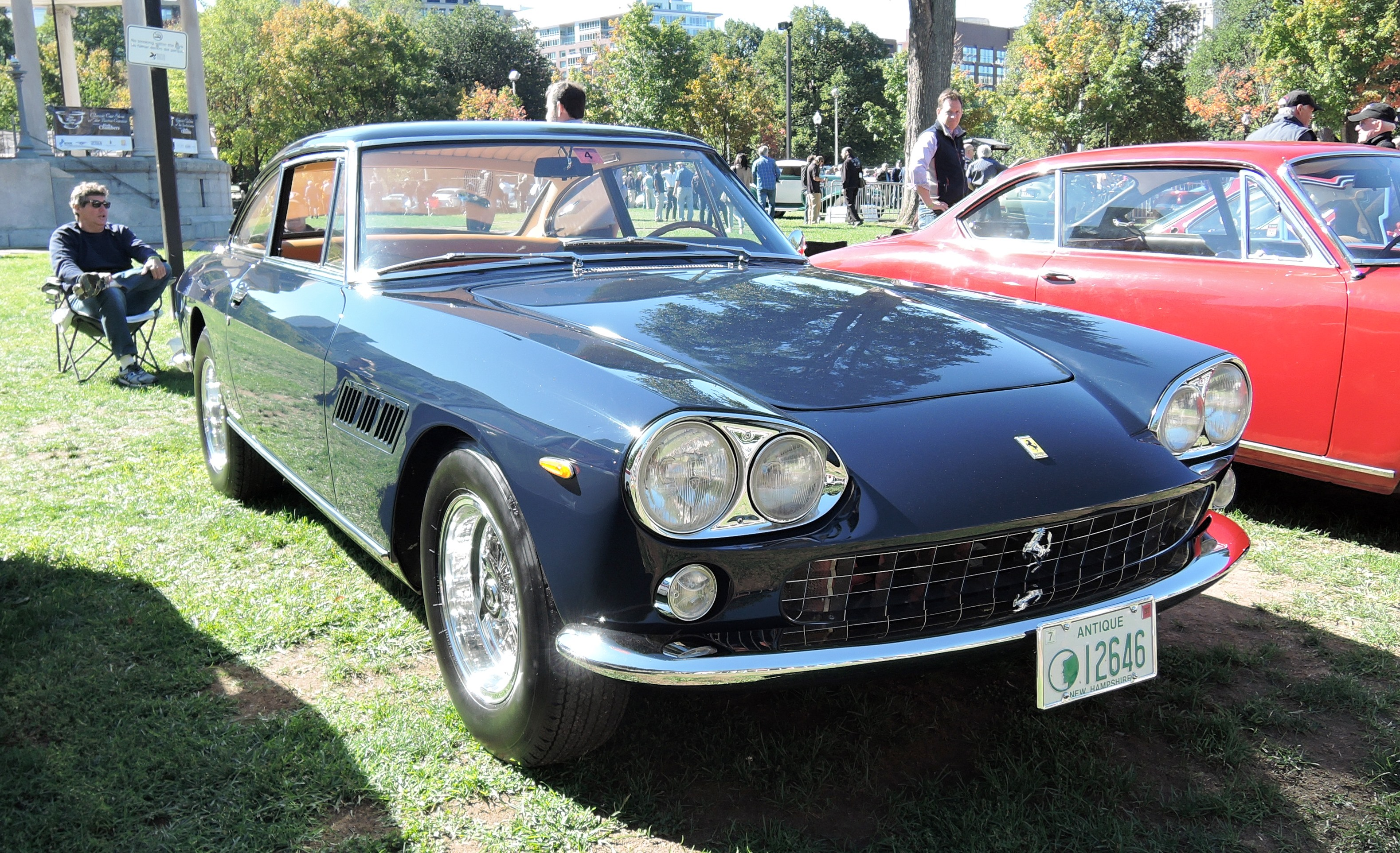blue 1964 Ferrari 330 GT - The Boston Cup on Boston Common