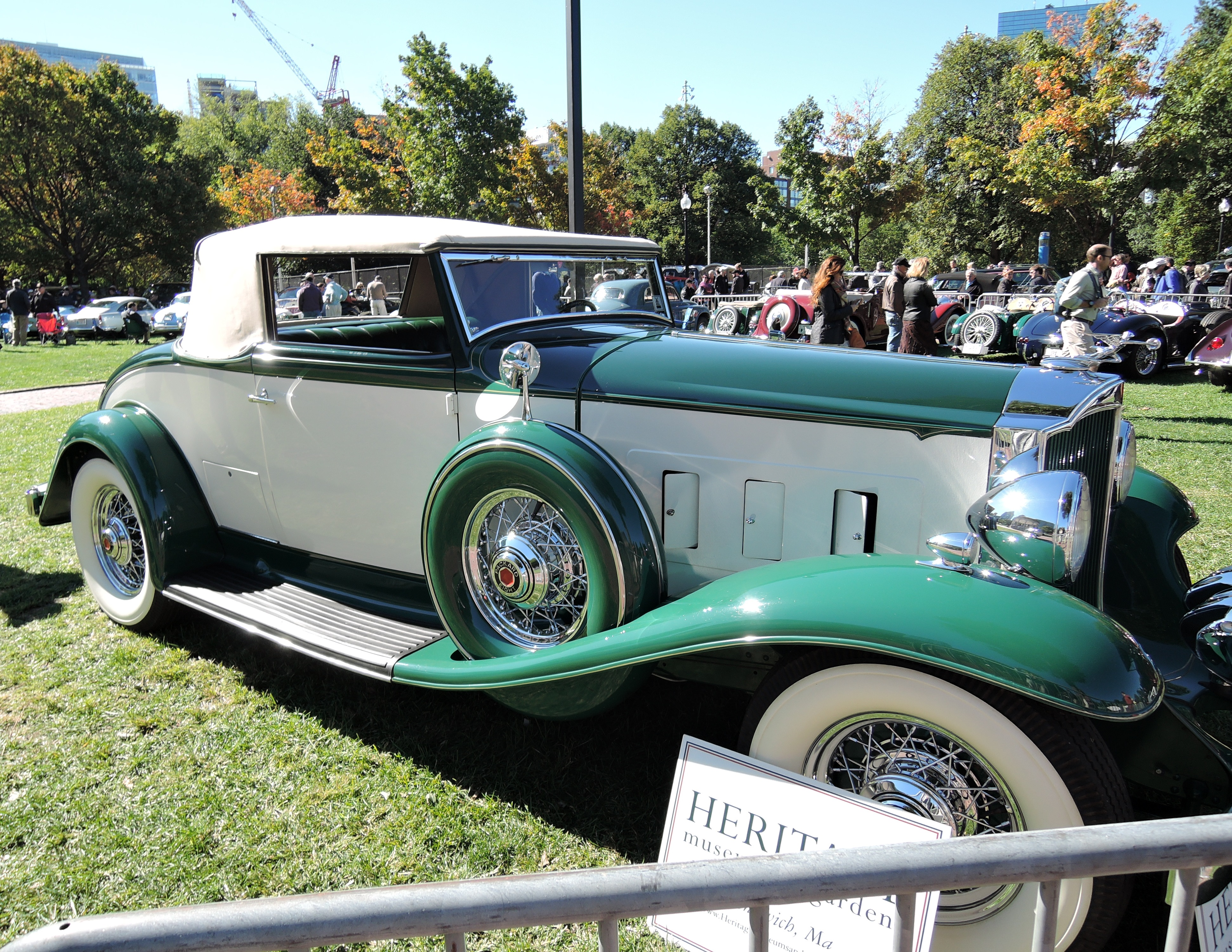 green 1932 Packard 900M Coupe Roadster - The Boston Cup on Boston Common