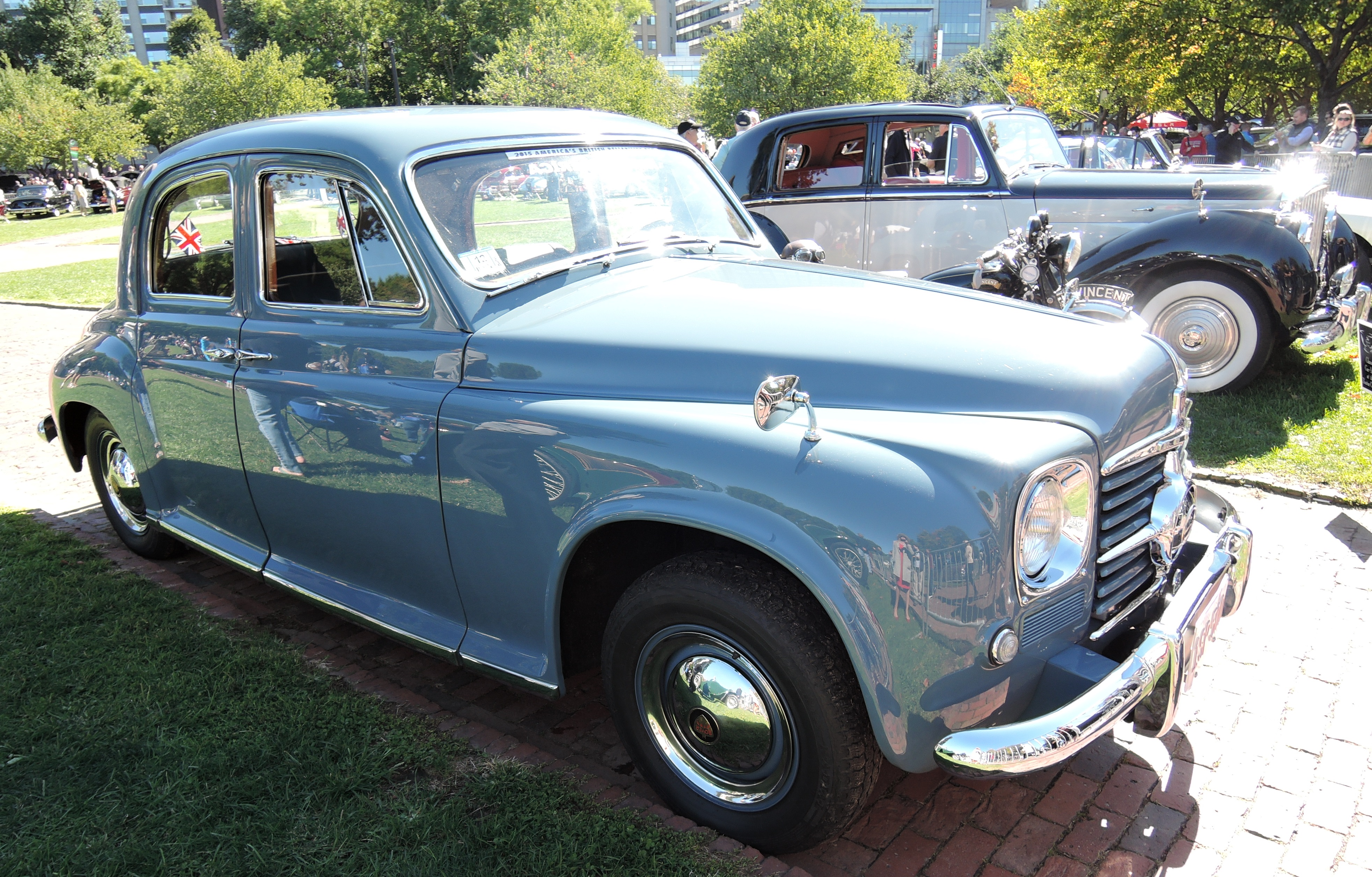 grey 1950 Rover 75 Cyclops - The Boston Cup on Boston Common