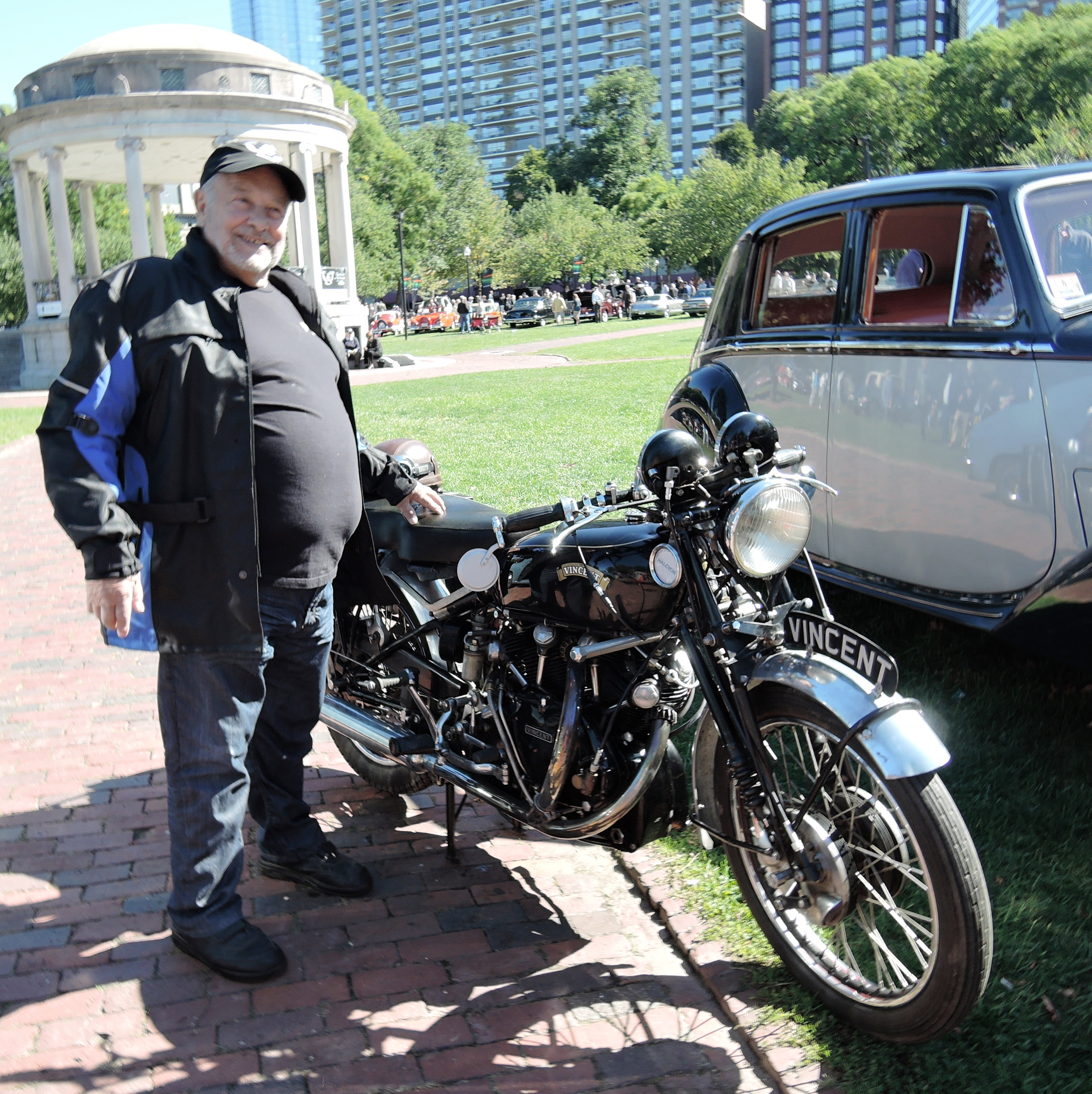 black 1952 Vincent Black Shadow -The Boston Cup on Boston Common