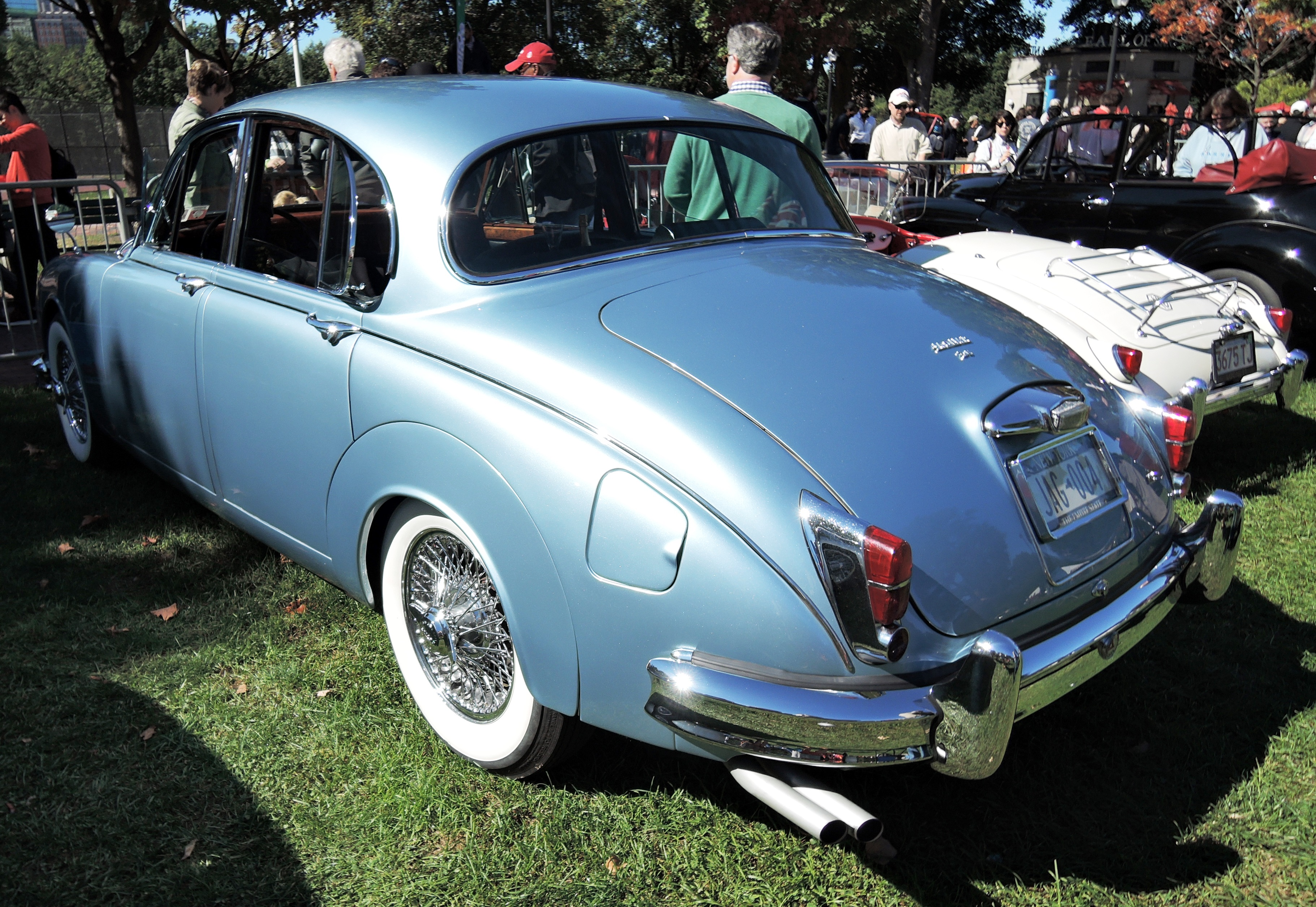 blue 1964 Jaguar Mark II - The Boston Cup on Boston Common
