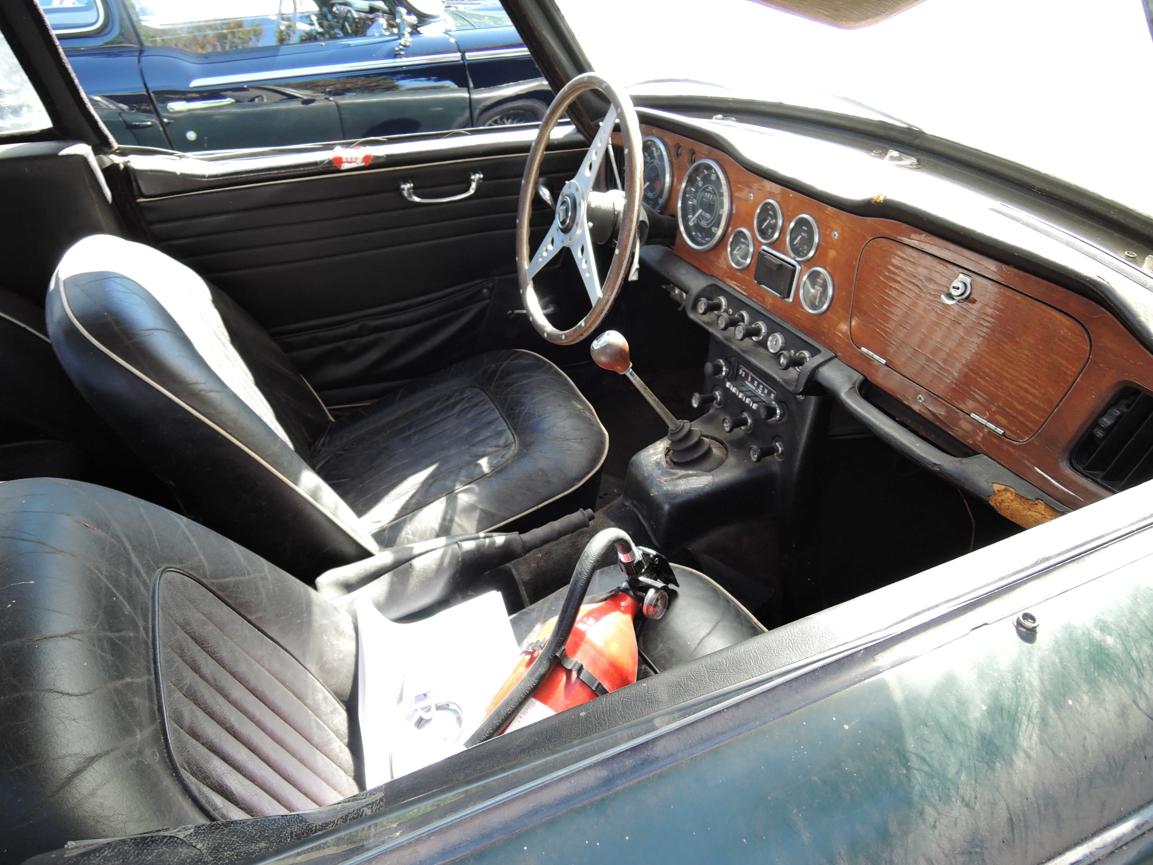 interior of 1966 Triumph TR4A Dove - The Boston Cup on Boston Common