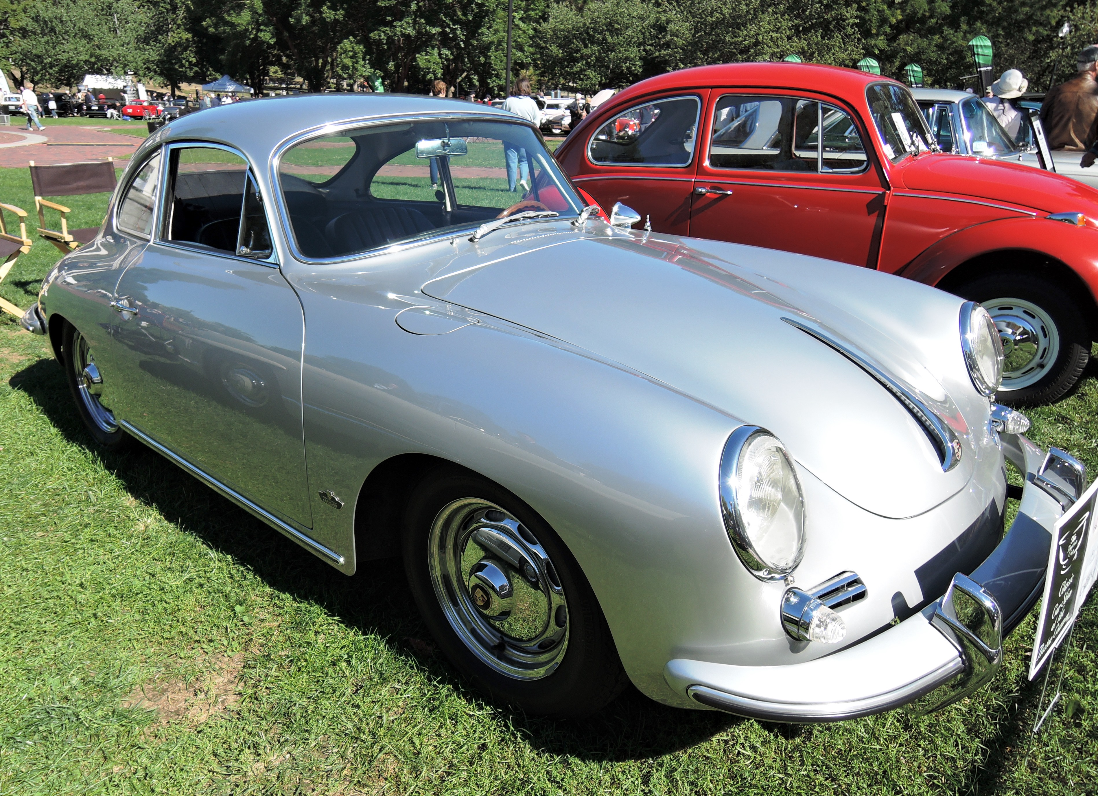 silver 1963 Porsche 356 S Coupe T6B - The Boston Cup on Boston Common
